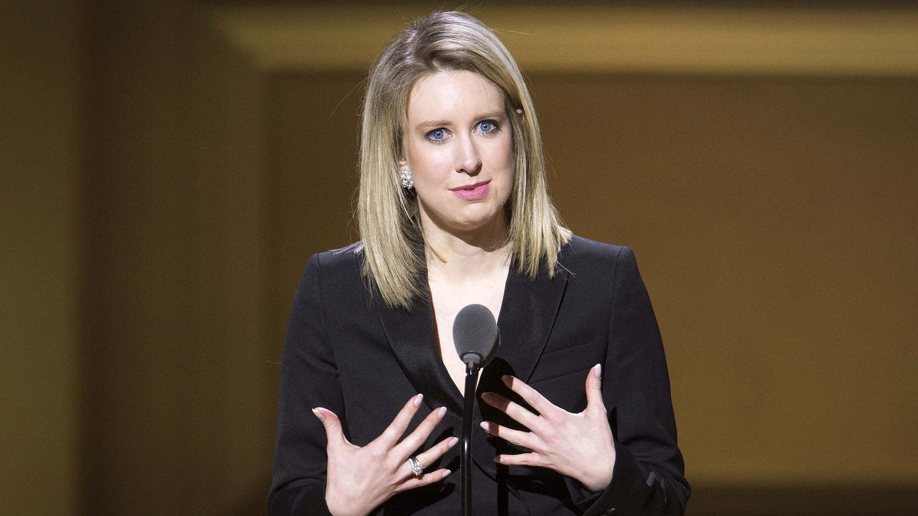 Nov. 9, 2015: Theranos Chief Executive Officer Elizabeth Holmes speaks on stage at the Glamour Women of the Year Awards where she receives an award, in the Manhattan borough of New York.