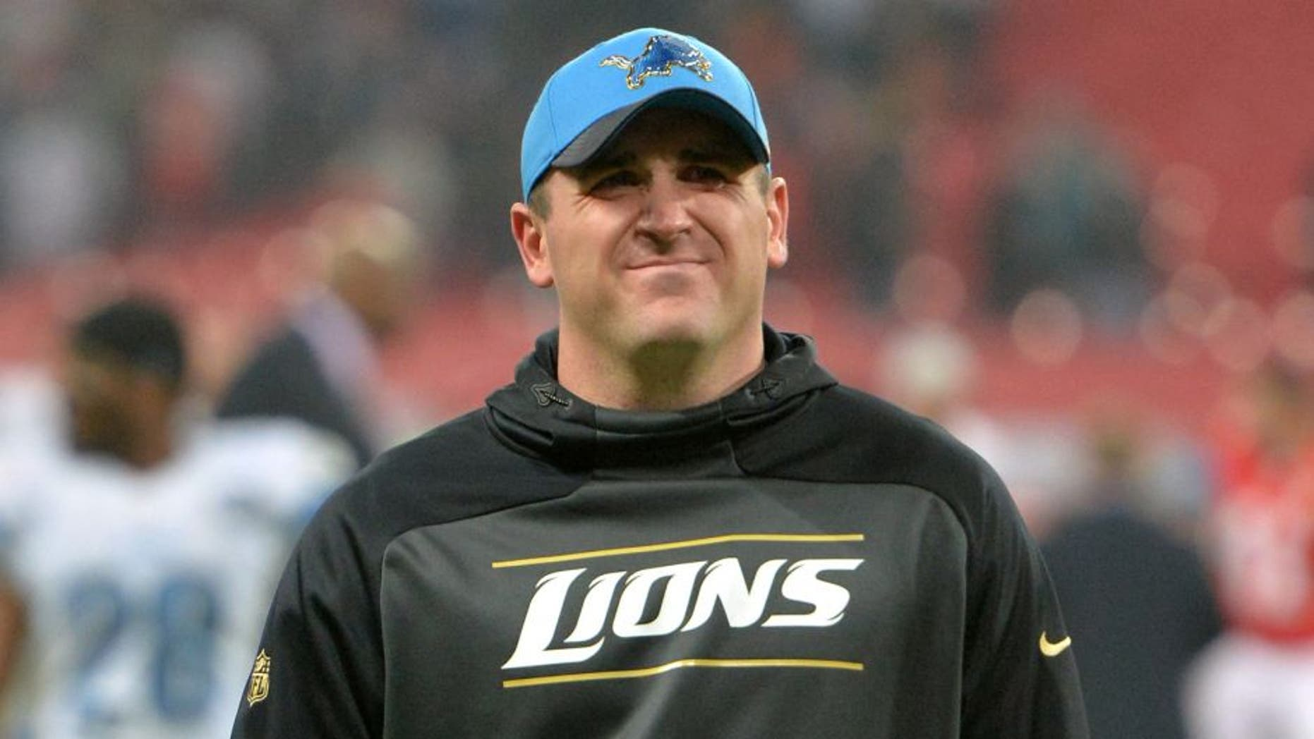 Nov 1, 2015; London, United Kingdom; Detroit Lions offensive coordinator Jim Bob Cooter walks off the field after a 45-10 loss against the Kansas City Chiefs during game 14 of the NFL International Series at Wembley Stadium. Mandatory Credit: Kirby Lee-USA TODAY Sports
