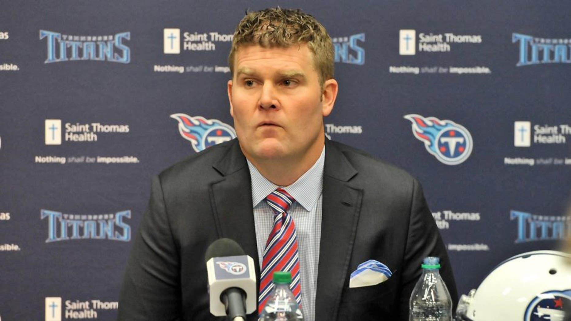Jan 18, 2016; Nashville, Tennessee, USA; Tennessee Titans new general manager Jon Robinson during a press conference at Saint Thomas Sports Park. Mandatory Credit: Jim Brown-USA TODAY Sports