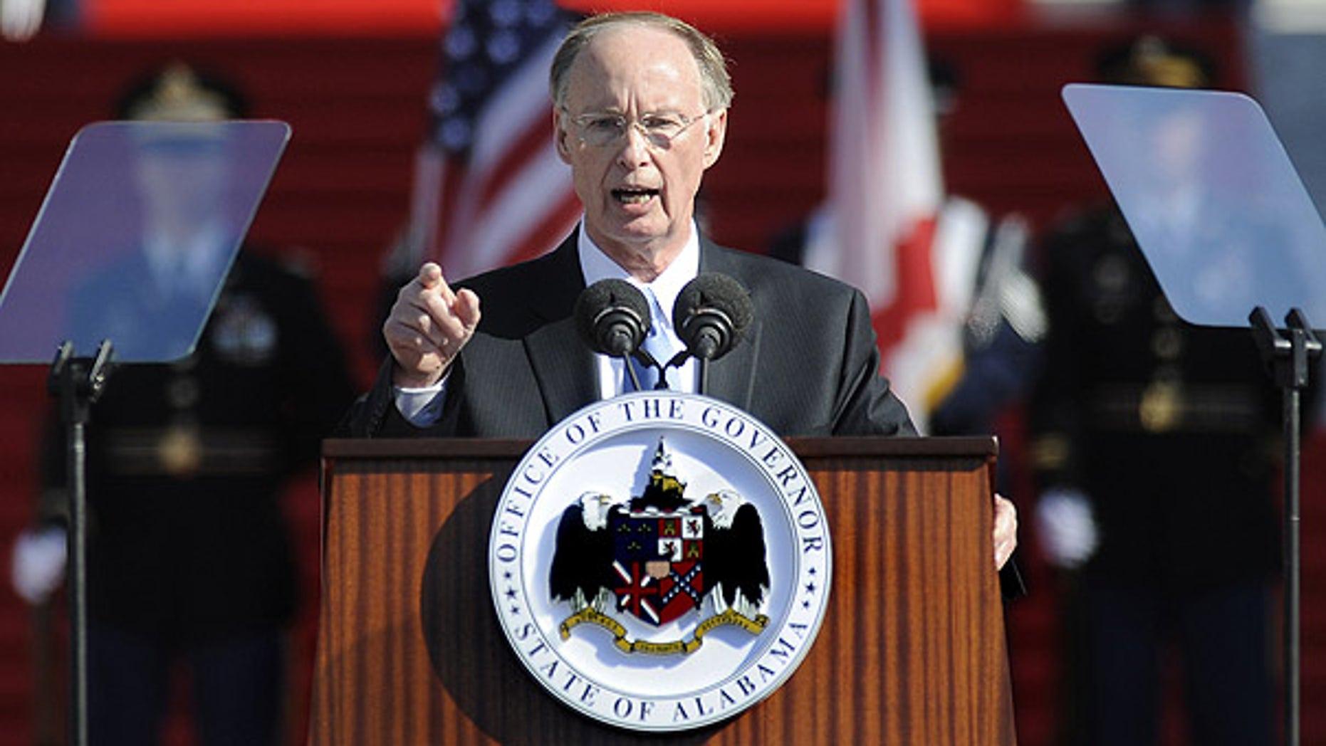 Jan. 17: Alabama Gov. Robert Bentley delivers a speech after being sworn in, in Montgomery.