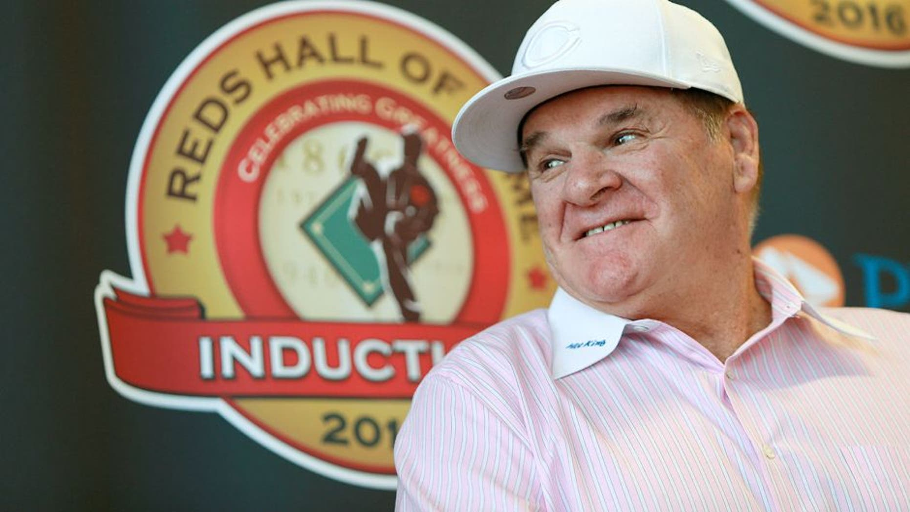 CINCINNATI, OH - JANUARY 19: Former Cincinnati Reds player Pete Rose, attends a press conference at the Champions Club at Great American Ball Park on January 19, 2016 in Cincinnati, Ohio. Rose was introduced as the latest member of the Cincinnati Reds Hall of Fame and will be inducted at a game in June. (Photo by Mark Lyons/Getty Images)