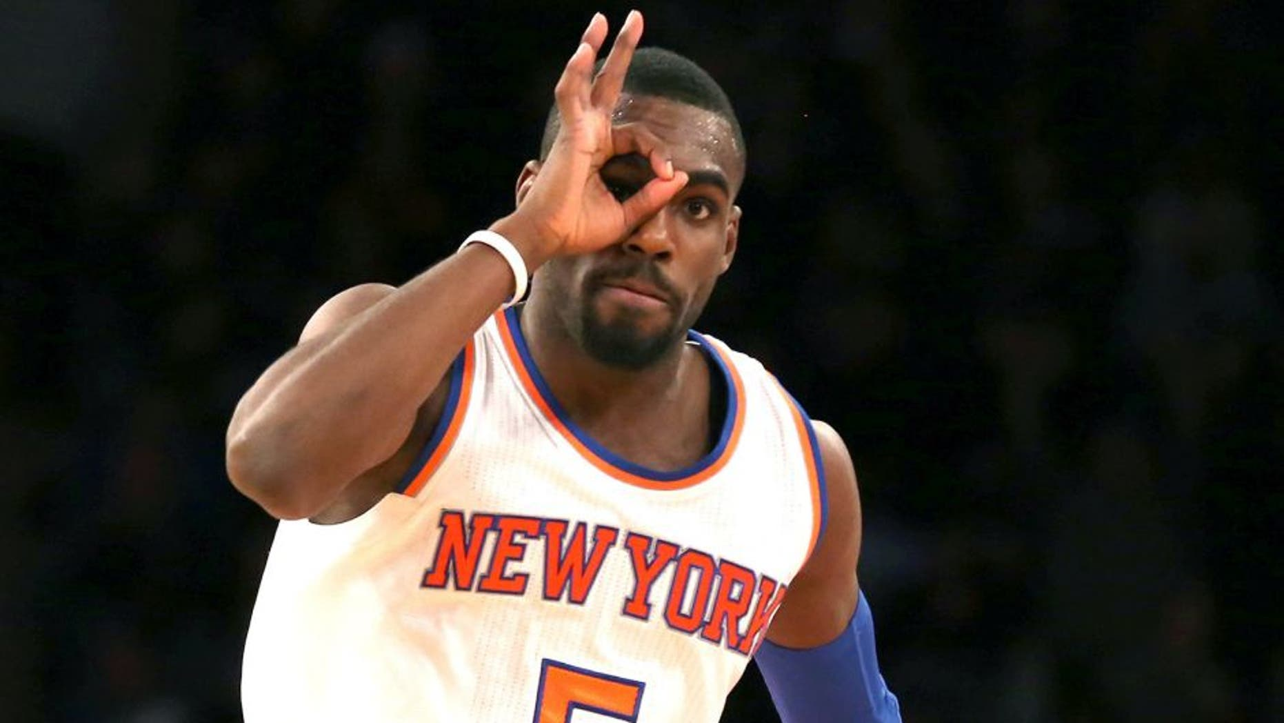 Jan 19, 2015; New York, NY, USA; New York Knicks guard Tim Hardaway Jr. (5) reacts after making a three-point shot against the New Orleans Pelicans during the fourth quarter at Madison Square Garden. The Knicks defeated the Pelicans 99-92. Mandatory Credit: Adam Hunger-USA TODAY Sports