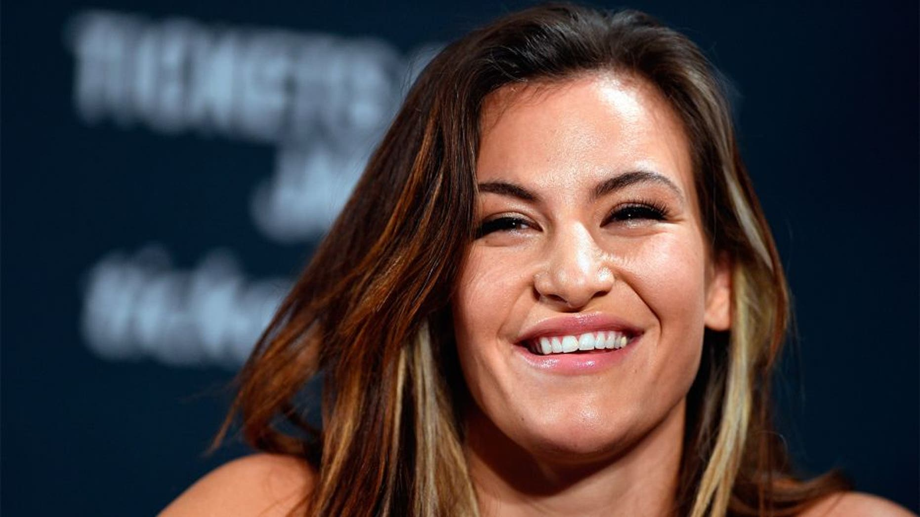 LAS VEGAS, NV - JANUARY 20: UFC women's bantamweight challenger Miesha Tate interacts with he media during the UFC 197 on-sale press conference event inside MGM Grand Hotel & Casino on January 20, 2016 in Las Vegas, Nevada. (Photo by Jeff Bottari/Zuffa LLC/Zuffa LLC via Getty Images)