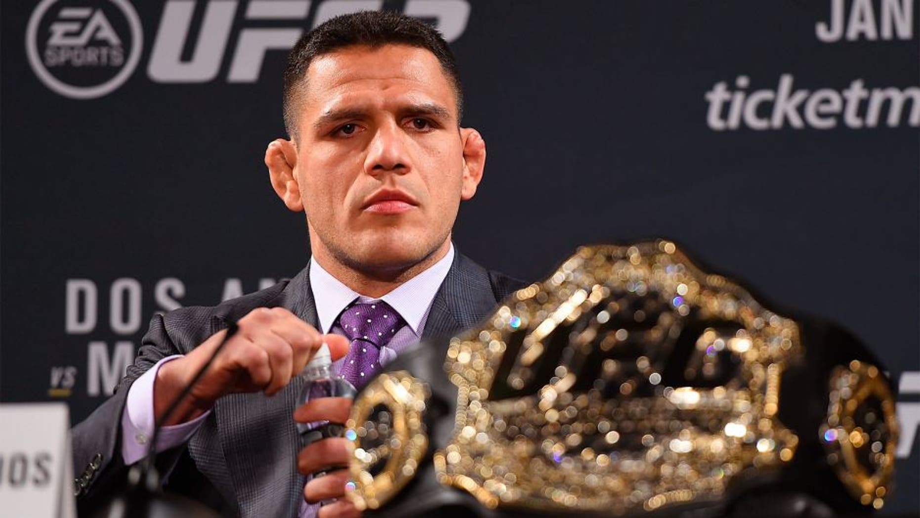 LAS VEGAS, NV - JANUARY 20: UFC lightweight champion Rafael dos Anjos of Brazil interacts with media during the UFC 197 on-sale press conference event inside MGM Grand Hotel & Casino on January 20, 2016 in Las Vegas, Nevada. (Photo by Jeff Bottari/Zuffa LLC/Zuffa LLC via Getty Images)