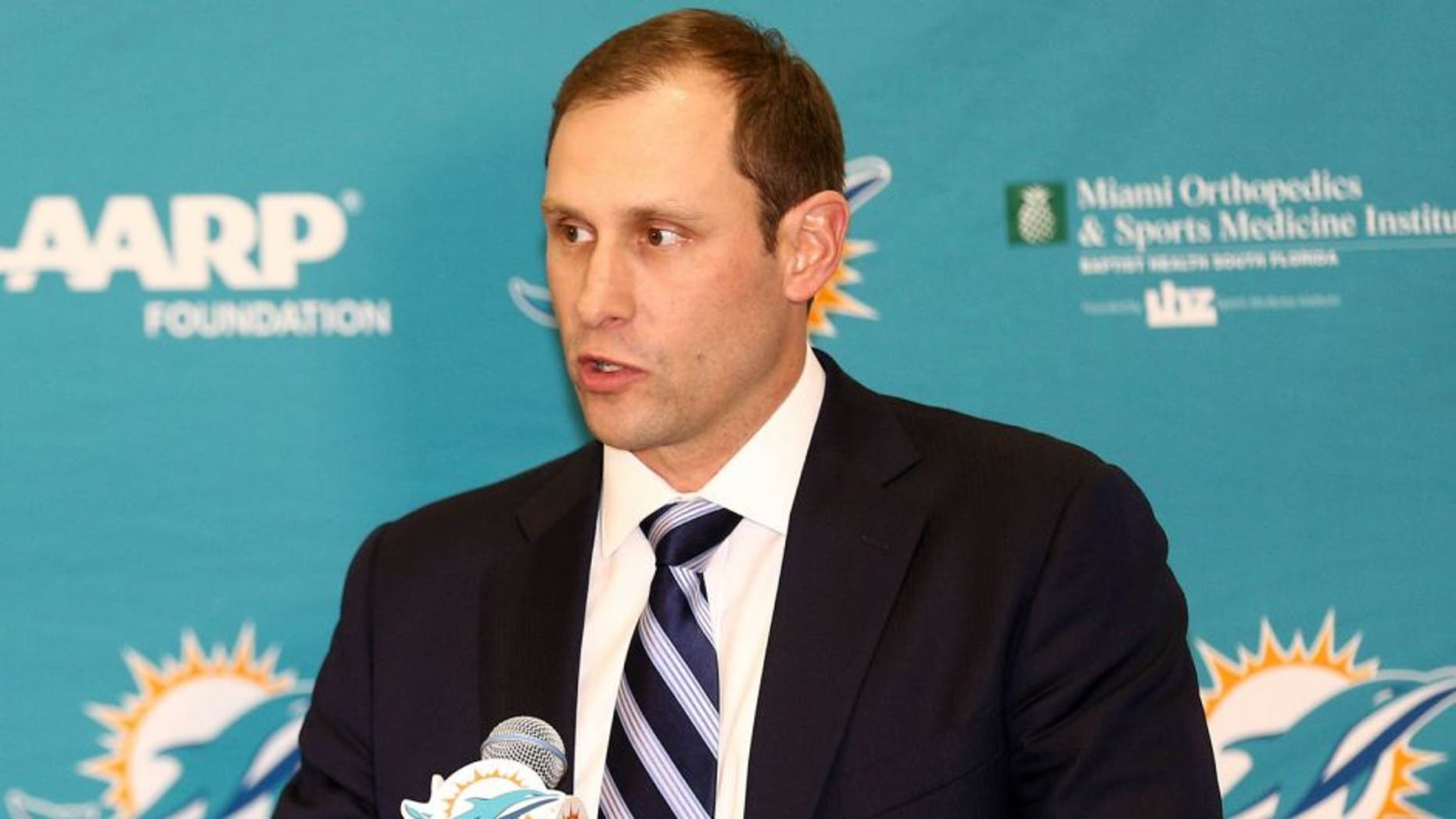 Jan 9, 2016; Davie, FL, USA; Miami Dolphins head coach Adam Gase addresses reporters during a press conference at Doctors Hospital Training Facility. Mandatory Credit: Steve Mitchell-USA TODAY Sports