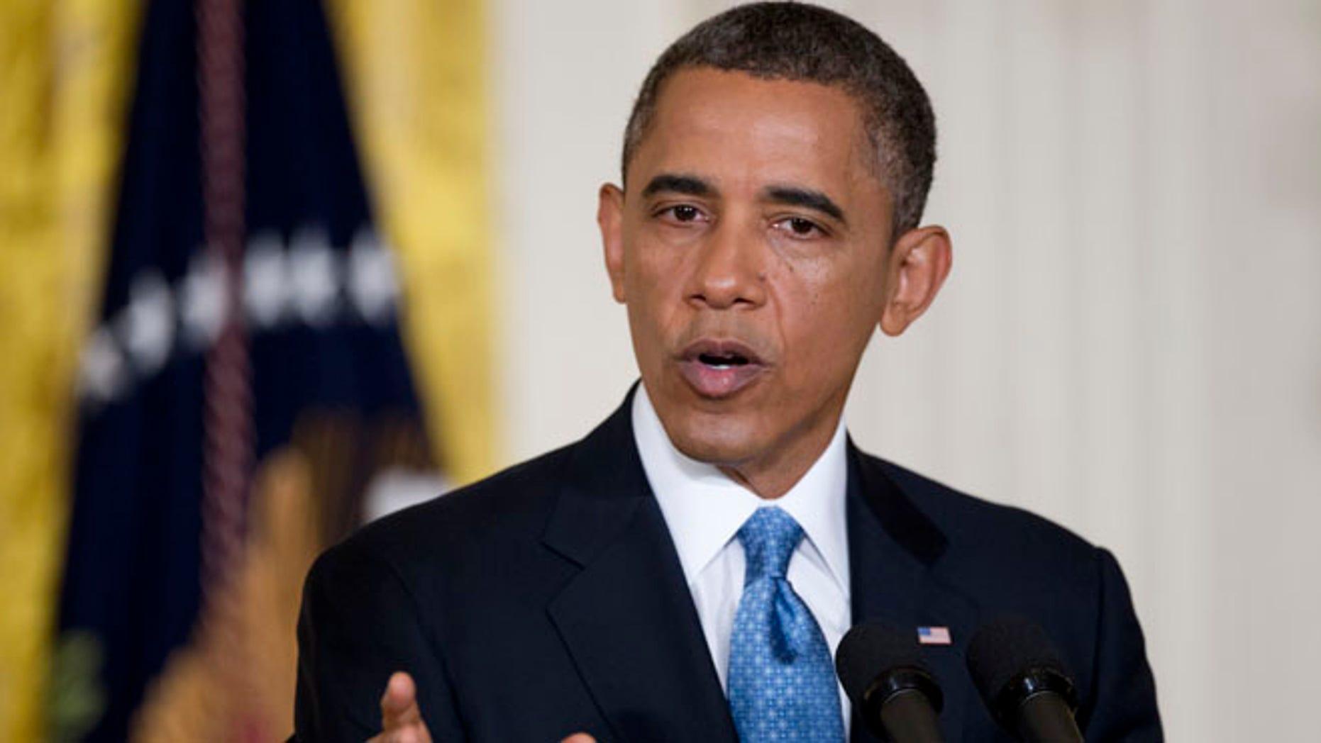 FILE: Jan. 14, 2013: President Barack Obama speaks in the East Room of the White House.