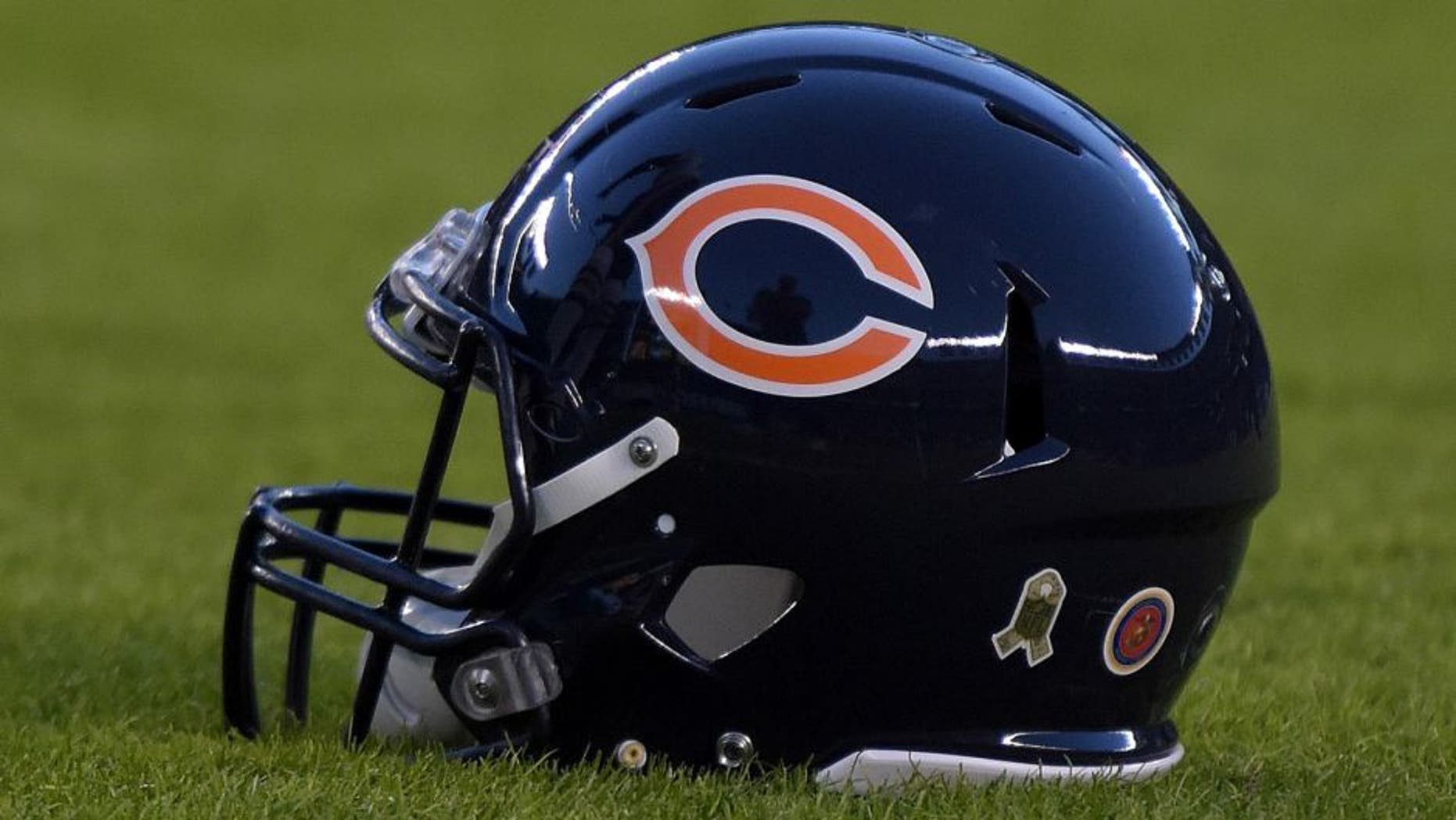Nov 9, 2015; San Diego, CA, USA; General view of Chicago Bears helmet during NFL football game against the San Diego Chargers at Qualcomm Stadium. Mandatory Credit: Kirby Lee-USA TODAY Sports