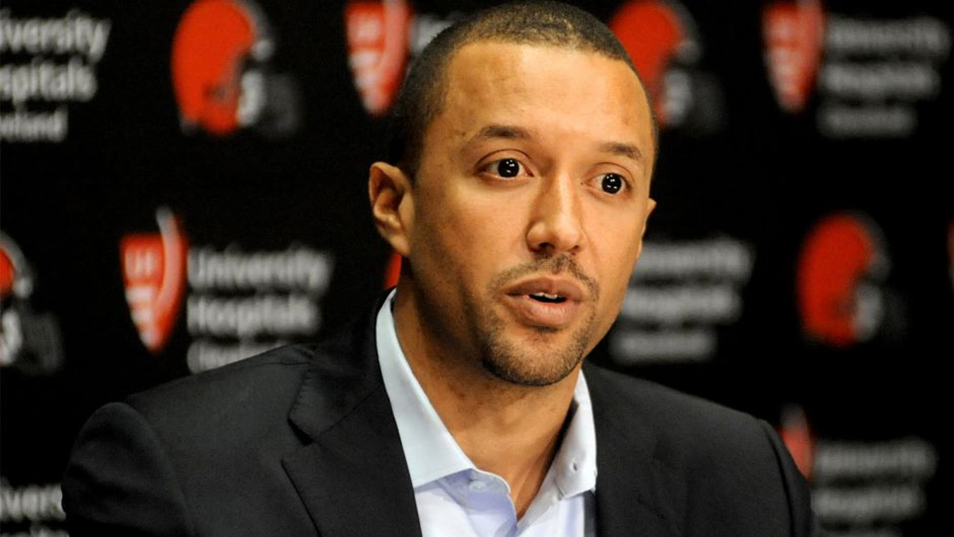 BEREA, OH - JANUARY 21, 2016: Executive vice president of football operations Sashi Brown of the Cleveland Browns answers questions during an introductory press conference on January 21, 2016 at the Cleveland Browns training facility in Berea, Ohio. (Photo by Nick Cammett/Diamond Images/Getty Images)