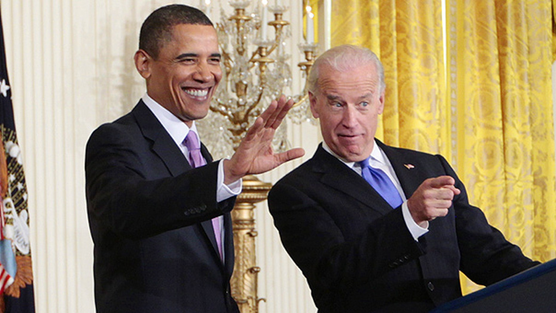 Jan. 21: President Obama and Vice President Biden acknowledge mayors before a White House address.