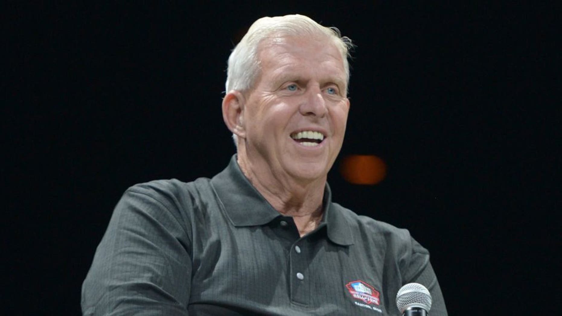 Aug 4, 2013; Canton, OH, USA; Bill Parcells at the 2013 Enshrinees Gameday Roundtable at the Canton Memorial Civic Center. Mandatory Credit: Kirby Lee-USA TODAY Sports