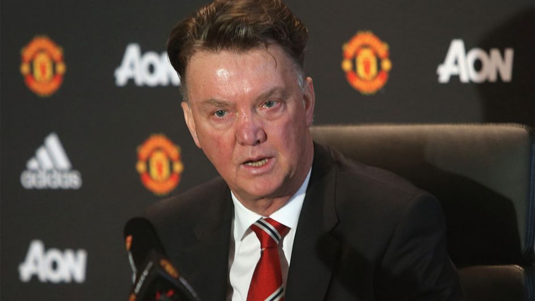 MANCHESTER, ENGLAND - JANUARY 22: (EXCLUSIVE COVERAGE) Manager Louis van Gaal of Manchester United speaks during a press conference at Aon Training Complex on January 22, 2016 in Manchester, England. (Photo by John Peters/Man Utd via Getty Images)