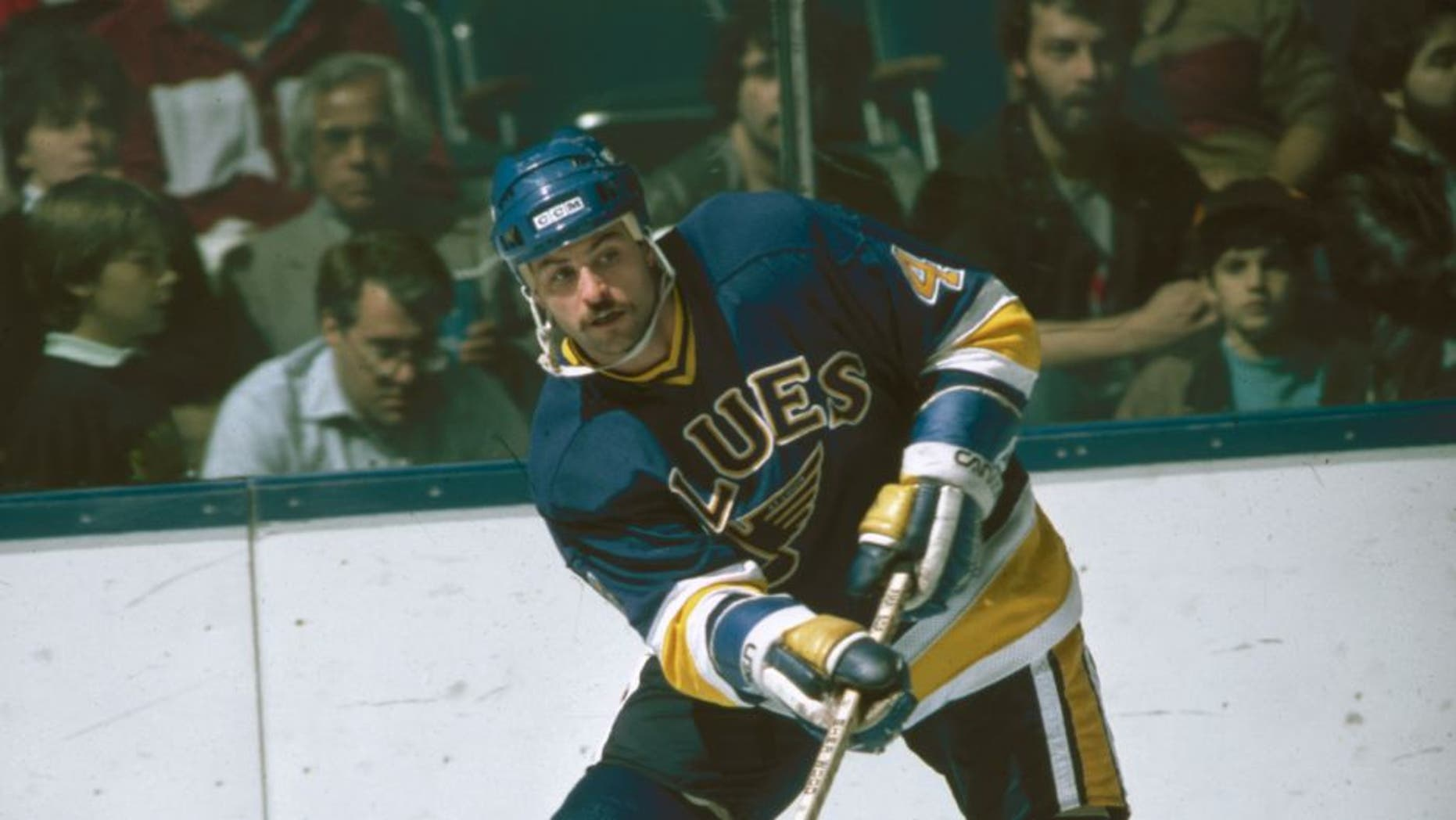 American ice hockey player Rik Wilson of the St. Louis Blues on the ice during a game, November 1984. (Photo by Bruce Bennett Studios/Getty Images)