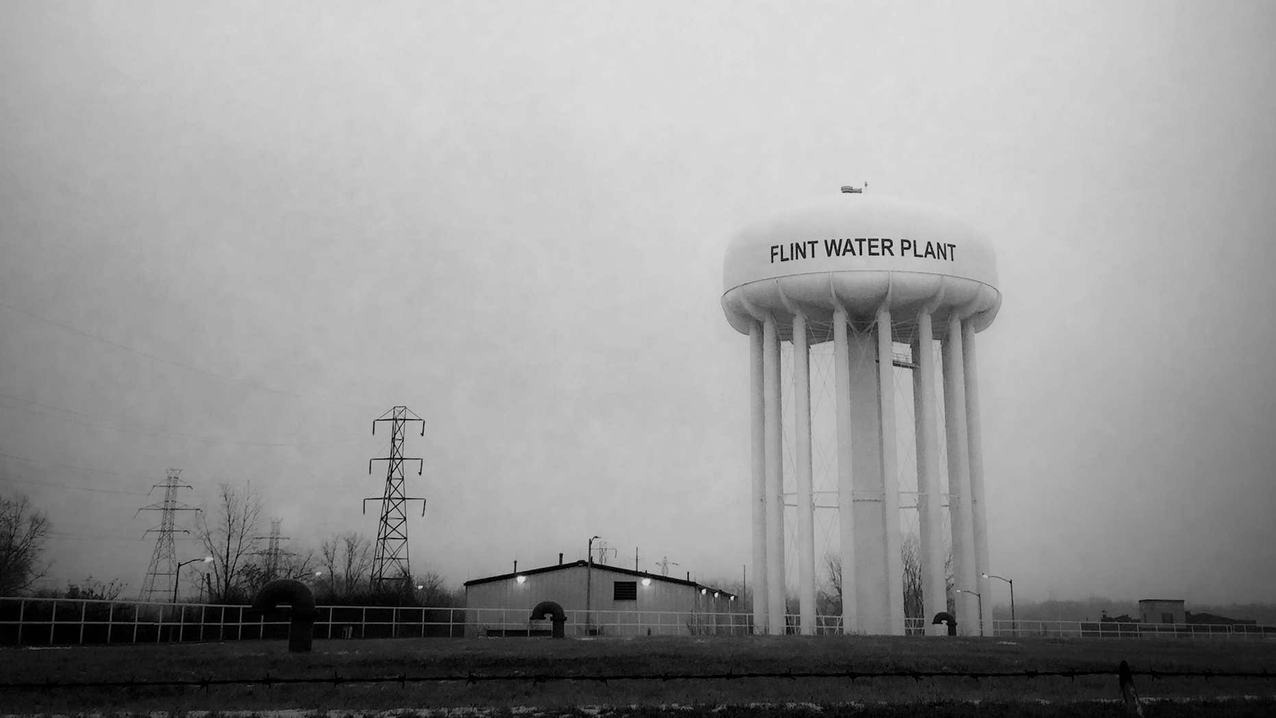 This Jan. 21, 2016 photo shows the water tower at the Flint, Mich., water plant.