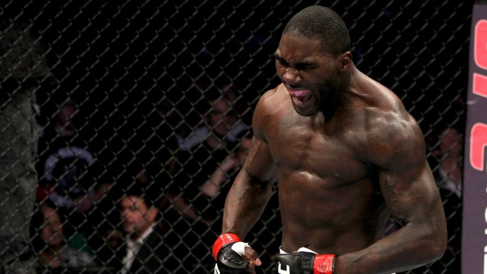 WASHINGTON, DC - OCTOBER 01: Anthony Johnson reacts after knocking out Charlie Brenneman during the UFC on Versus event at the Verizon Center on October 1, 2011 in Washington, DC. (Photo by Josh Hedges/Zuffa LLC/Zuffa LLC via Getty Images)