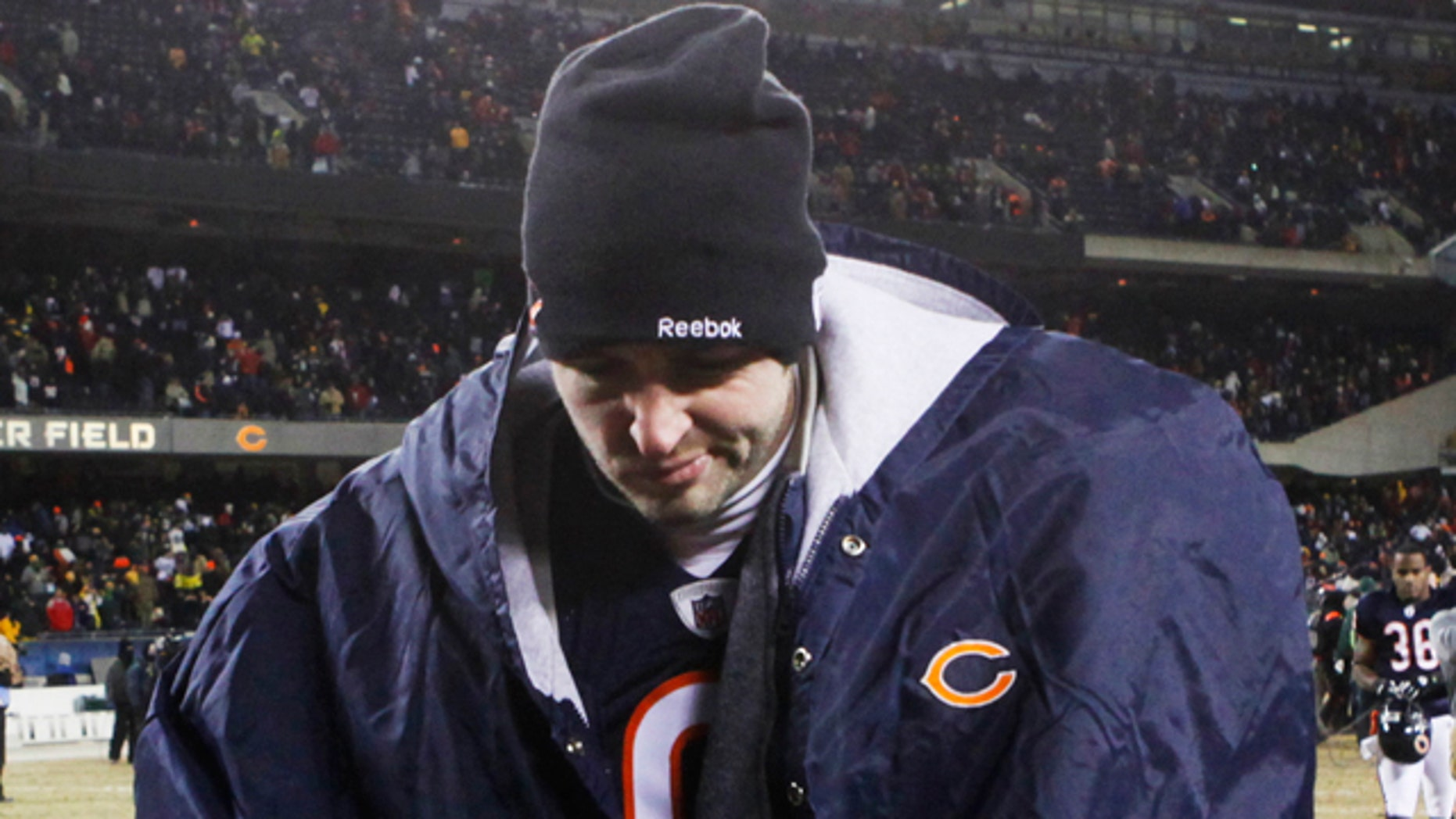 Jan. 23: Chicago Bears quarterback Jay Cutler walks off the field after the NFC Championship NFL football game against the Green Bay Packers in Chicago.