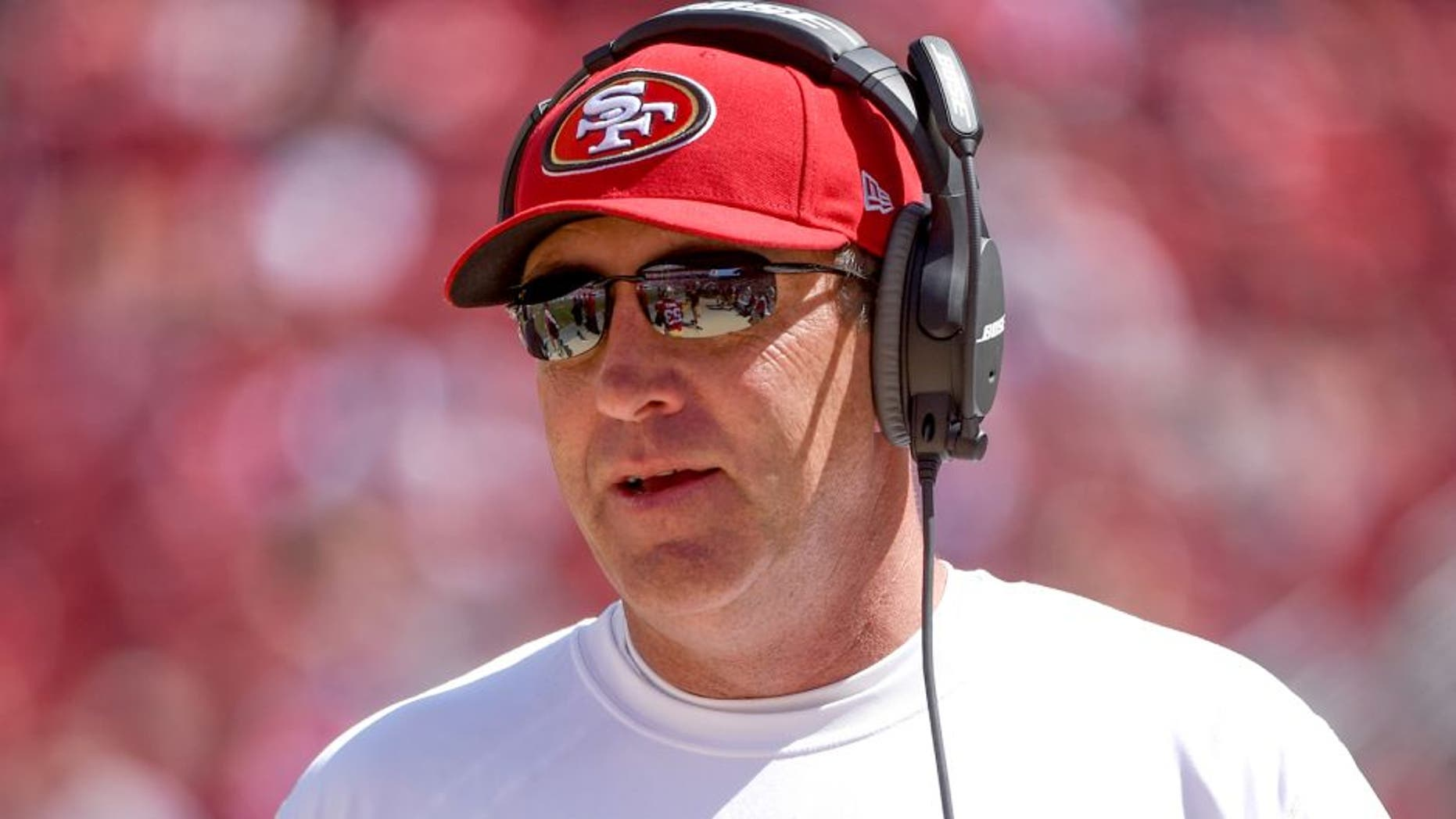 August 24, 2014; Santa Clara, CA, USA; San Francisco 49ers quarterback coach Geep Chryst during the third quarter against the San Diego Chargers at Levi's Stadium. The 49ers defeated the Chargers 21-7. Mandatory Credit: Kyle Terada-USA TODAY Sports