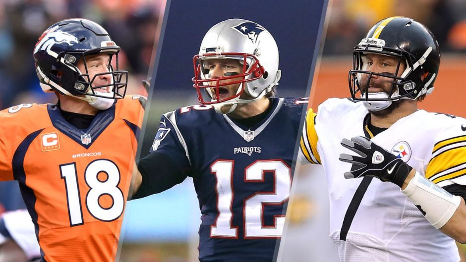 Broncos quarterback Peyton Manning throws during the fourth quarter of the AFC Championship game on Sunday, Jan. 24, 2016, at Sports Authority Field at Mile High in Denver. (Mark Reis/Colorado Springs Gazette/TNS via Getty Images), FOXBORO, MA - JANUARY 16: Tom Brady #12 of the New England Patriots gestures after a play in the fourth quarter against the Kansas City Chiefs during the AFC Divisional Playoff Game at Gillette Stadium on January 16, 2016 in Foxboro, Massachusetts. (Photo by Maddie Meyer/Getty Images), CINCINNATI, OH - DECEMBER 13: Ben Roethlisberger #7 of the Pittsburgh Steelers throws a pass during the third quarter of the game against the Cincinnati Bengals at Paul Brown Stadium on December 13, 2015 in Cincinnati, Ohio. (Photo by John Grieshop/Getty Images)