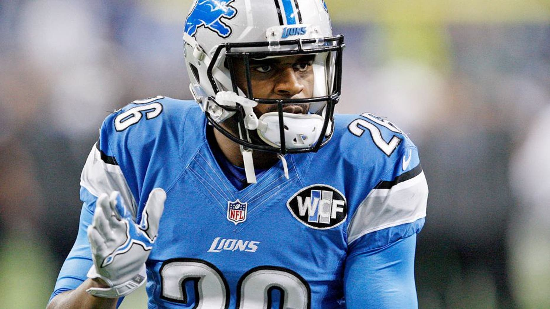 Nov 26, 2015; Detroit, MI, USA; Detroit Lions strong safety Don Carey (26) claps his hands before the NFL game against the Philadelphia Eagles on Thanksgiving at Ford Field. Mandatory Credit: Raj Mehta-USA TODAY Sports