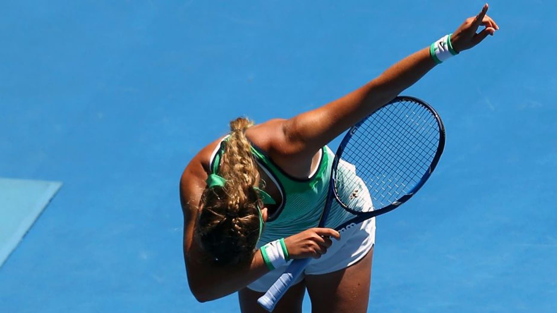 MELBOURNE, AUSTRALIA - JANUARY 25: Victoria Azarenka of Belarus celebrates winning her fourth round match against Barbora Strycova of the Czech Republic during day eight of the 2016 Australian Open at Melbourne Park on January 25, 2016 in Melbourne, Australia. (Photo by Mark Kolbe/Getty Images)