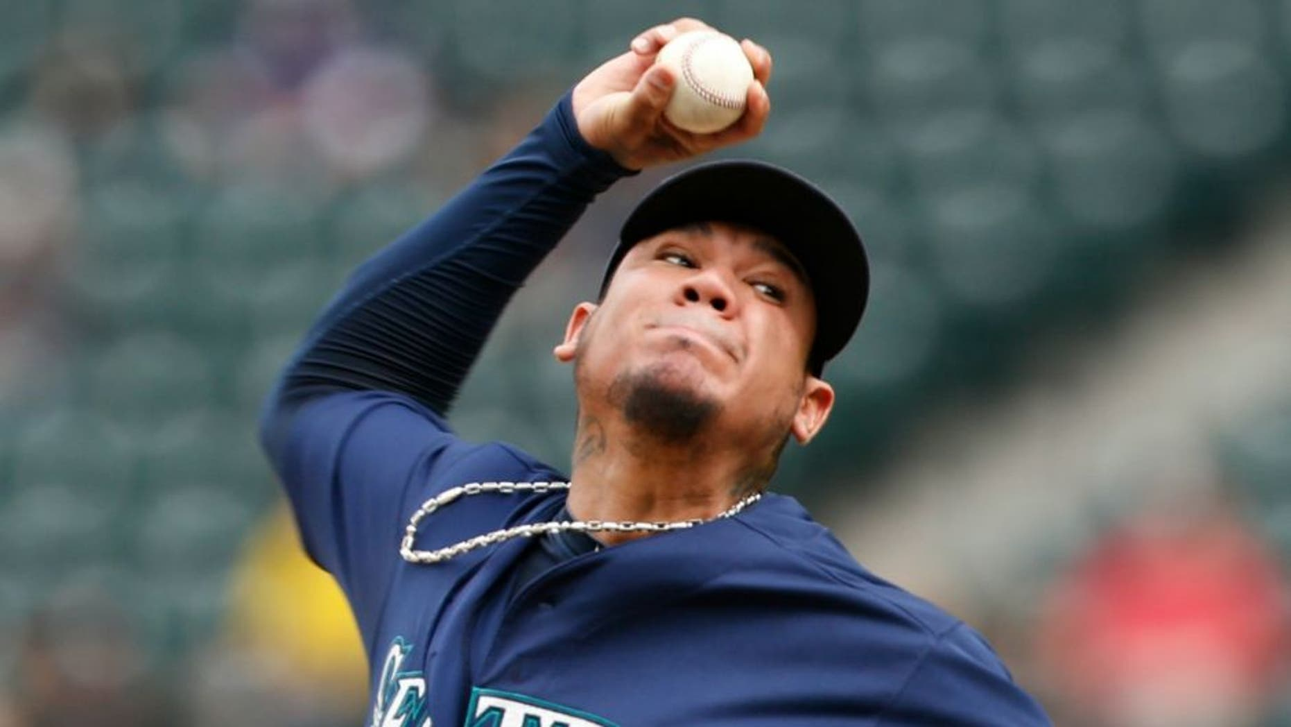 Sep 5, 2016; Seattle, WA, USA; Seattle Mariners starting pitcher Felix Hernandez (34) throws against the Texas Rangers during the third inning at Safeco Field. Mandatory Credit: Joe Nicholson-USA TODAY Sports