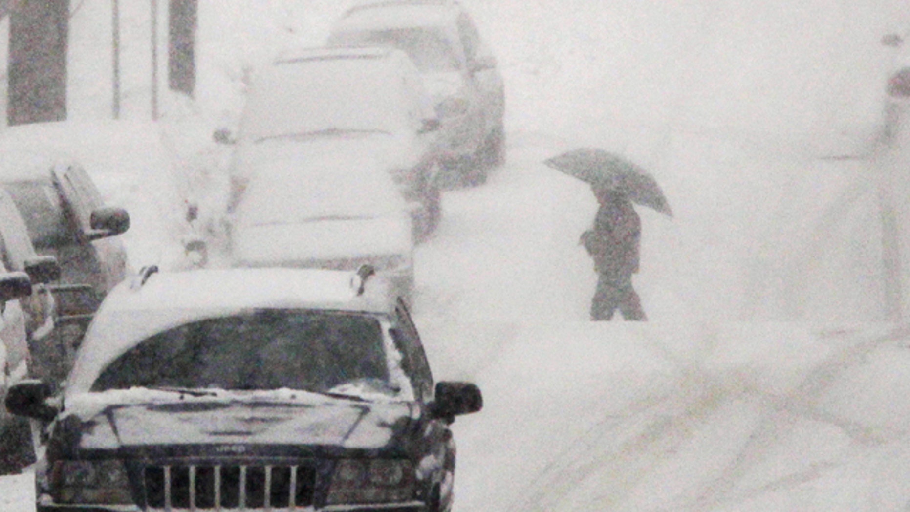 Jan. 26: A person with an umbrella crosses the street as snow falls in Belleville, N.J.