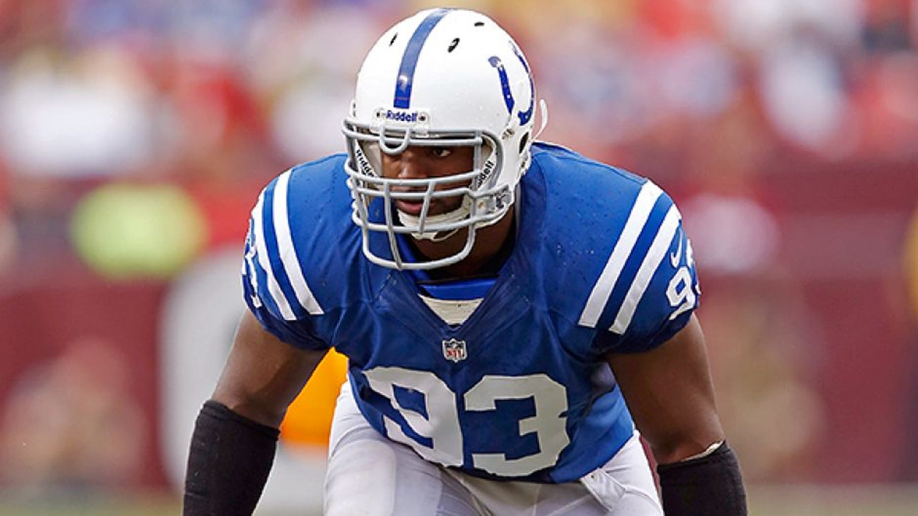 LANDOVER, MD - AUGUST 25: Dwight Freeney #93 of the Indianapolis Colts lines up against the Washington Redskins during a preseason NFL game at FedEx Field on August 25, 2012 in Landover, Maryland. The Redskins beat the Colts 30-17. (Photo by Joe Robbins/Getty Images)