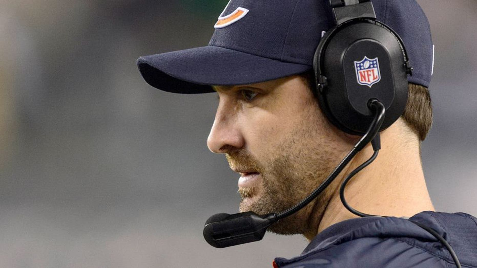 Dec 22, 2013; Philadelphia, PA, USA; Chicago Bears wide receivers coach Mike Groh along the sidelines during the second quarter against the Philadelphia Eagles at Lincoln Financial Field. The Eagles defeated the Bears 54-11. Mandatory Credit: Howard Smith-USA TODAY Sports