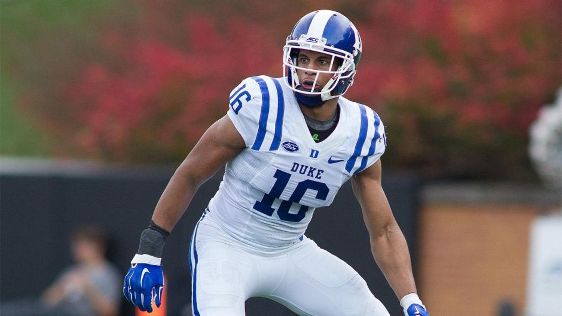 Nov 28, 2015; Winston-Salem, NC, USA; Duke Blue Devils safety Jeremy Cash (16) follows the ball during the second half against the Wake Forest Demon Deacons at BB&T Field. Duke defeated Wake Forest 27-21. Mandatory Credit: Jeremy Brevard-USA TODAY Sports