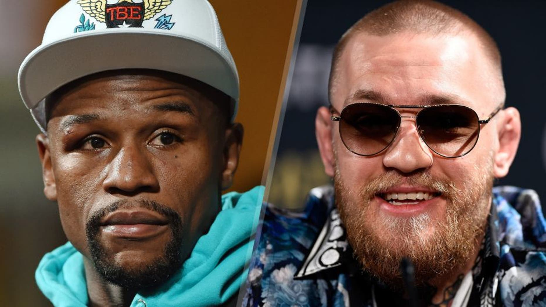 Floyd Mayweather Jr. attends a post-fight news conference at MGM Grand Hotel & Casino after he retained his WBC/WBA welterweight titles in a unanimous-decision victory over Andre Berto on September 12, 2015 in Las Vegas, Nevada. (Photo by Ethan Miller/Getty Images) UFC featherweight champion and lightweight challenger Conor McGregor of Ireland interacts with the media during the UFC 197 on-sale press conference event inside MGM Grand Hotel & Casino on January 20, 2016 in Las Vegas, Nevada. (Photo by Jeff Bottari/Zuffa LLC/Zuffa LLC via Getty Images)