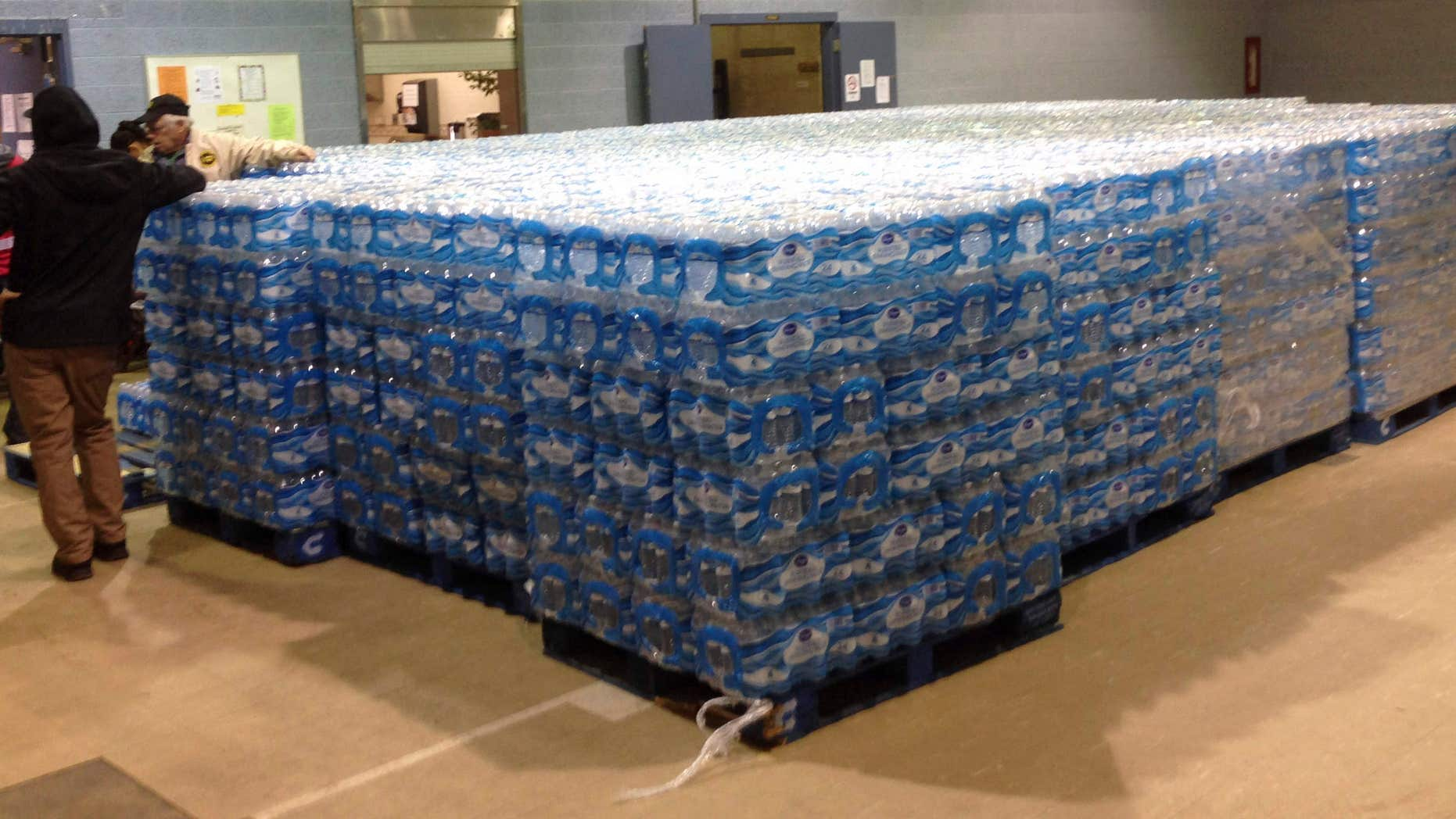 Jan. 26, 2016: Pallets of water, ready for distribution in the community, sit at the Sebring Community Center.