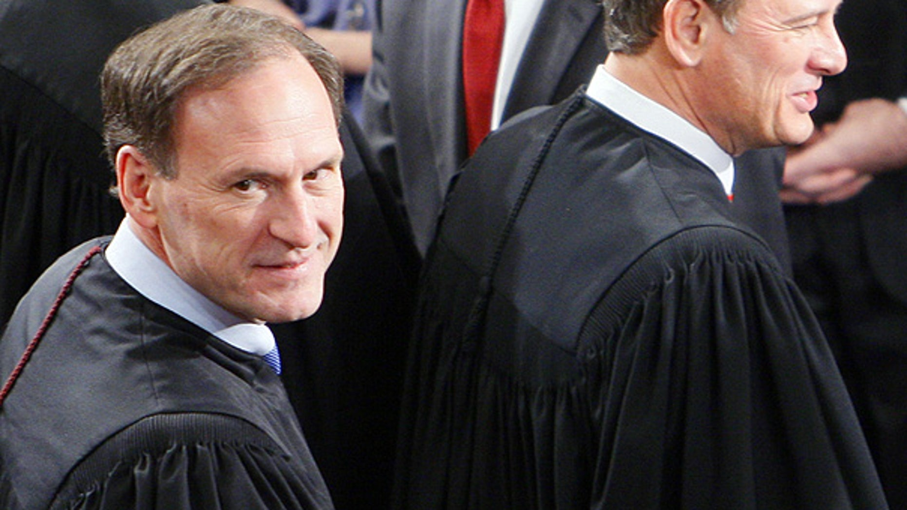 Jan. 27, 2010: Supreme Court Justice Samuel Alito, left, and Chief Justice John Roberts arrive for the State of the Union address.