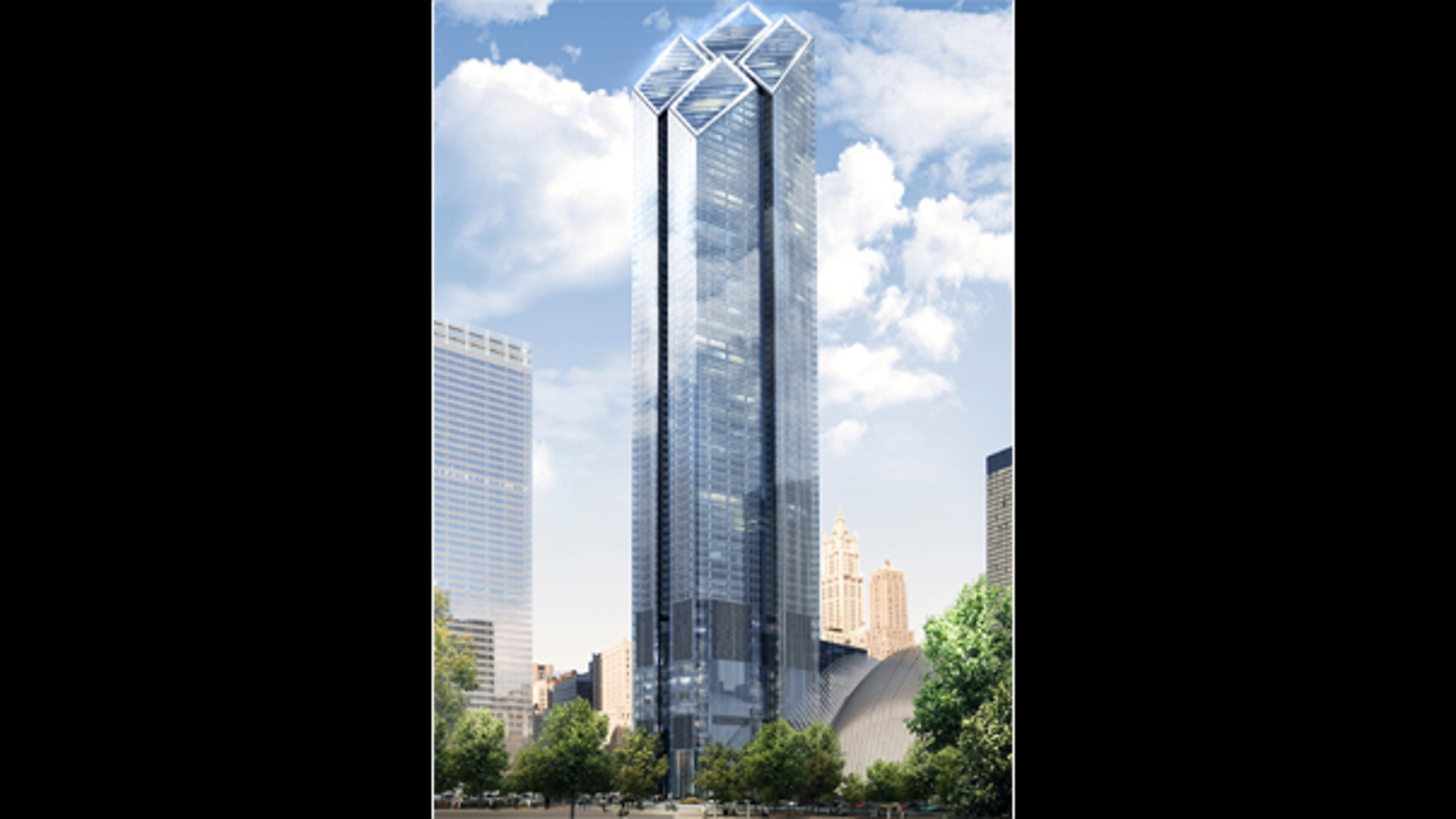A computer rendering of the new World Trade Center's Tower 2.