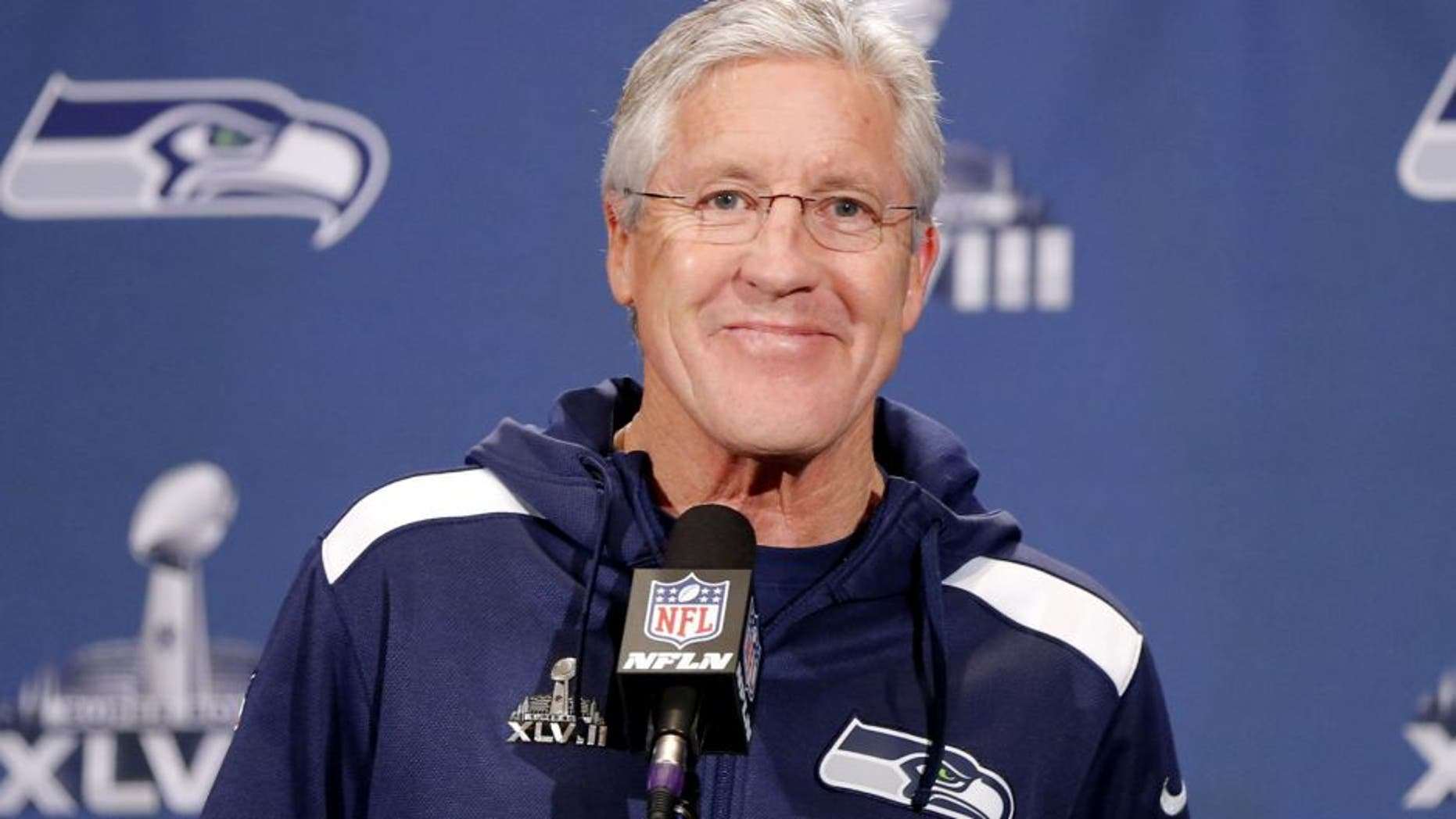 Jan 27, 2014; Jersey City, NJ, USA; Seattle Seahawks head coach Pete Carroll addresses the media during a press conference for Super Bowl XLVIII at The Westin. Mandatory Credit: Jim O'Connor-USA TODAY Sports