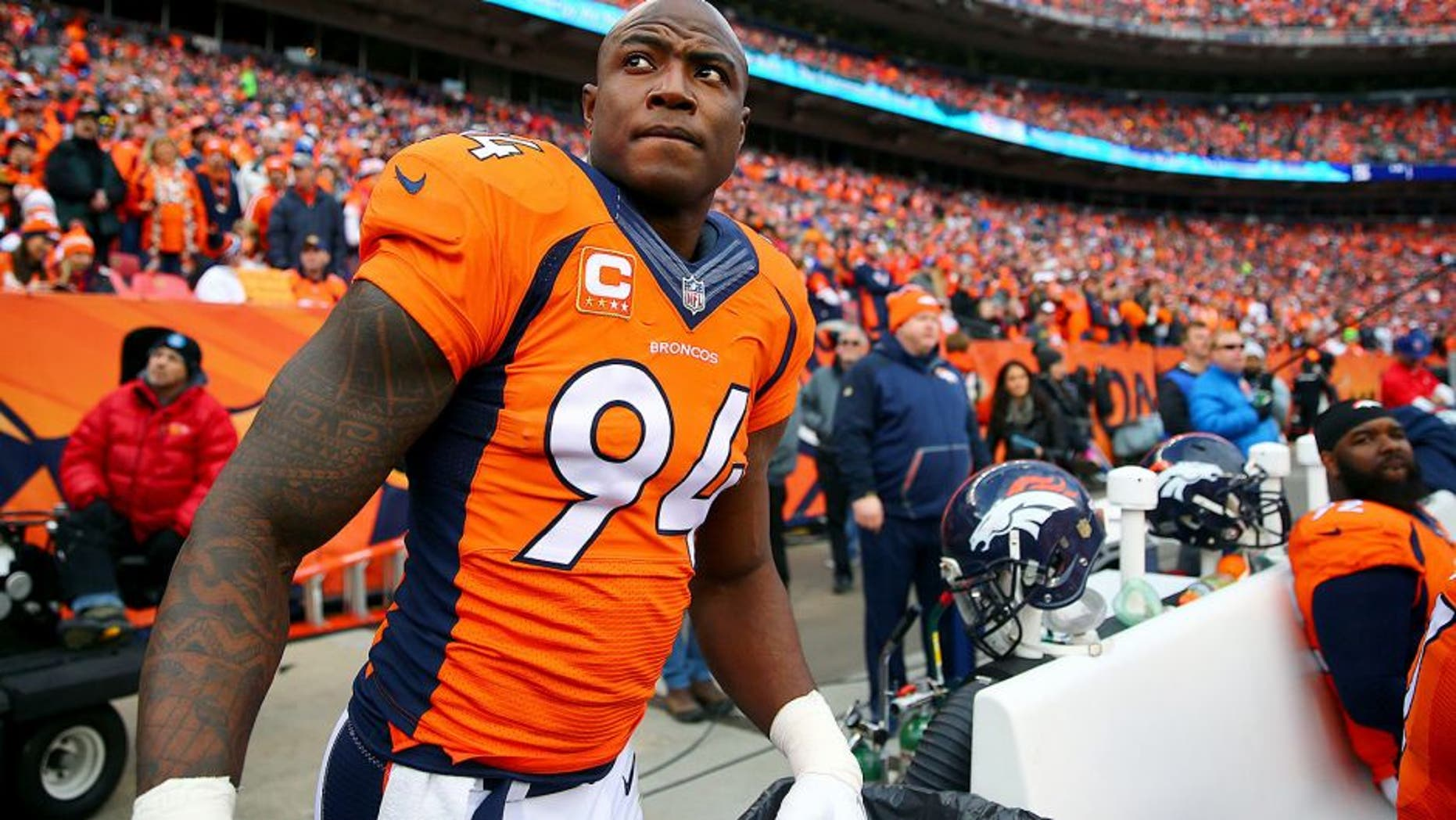 Jan 24, 2016; Denver, CO, USA; Denver Broncos defensive end DeMarcus Ware (94) against the New England Patriots in the AFC Championship football game at Sports Authority Field at Mile High. The Broncos defeated the Patriots 20-18 to advance to the Super Bowl. Mandatory Credit: Mark J. Rebilas-USA TODAY Sports
