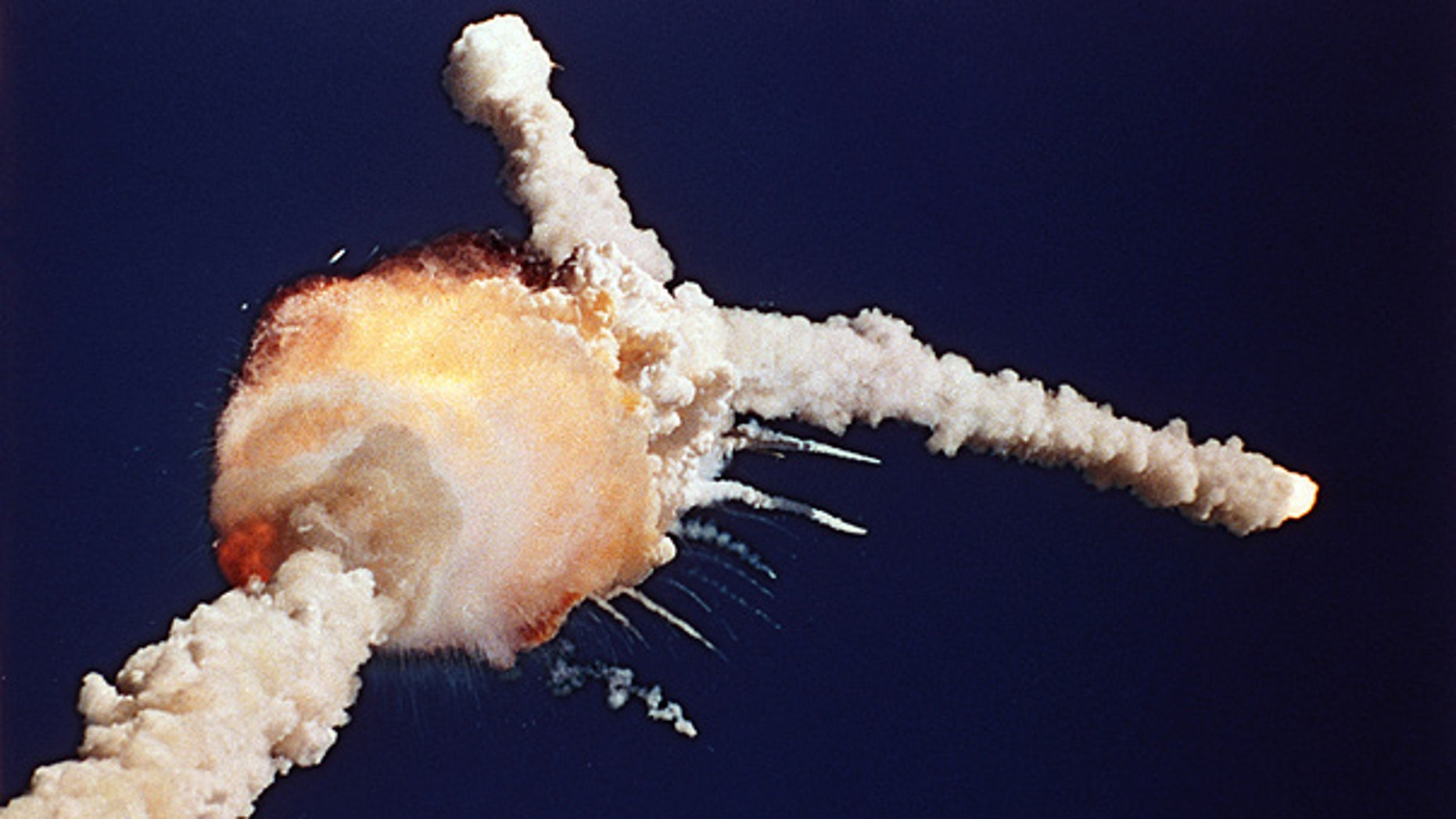 Jan. 28, 1986: The space shuttle Challenger explodes shortly after lifting off from the Kennedy Space Center in Cape Canaveral, Fla.