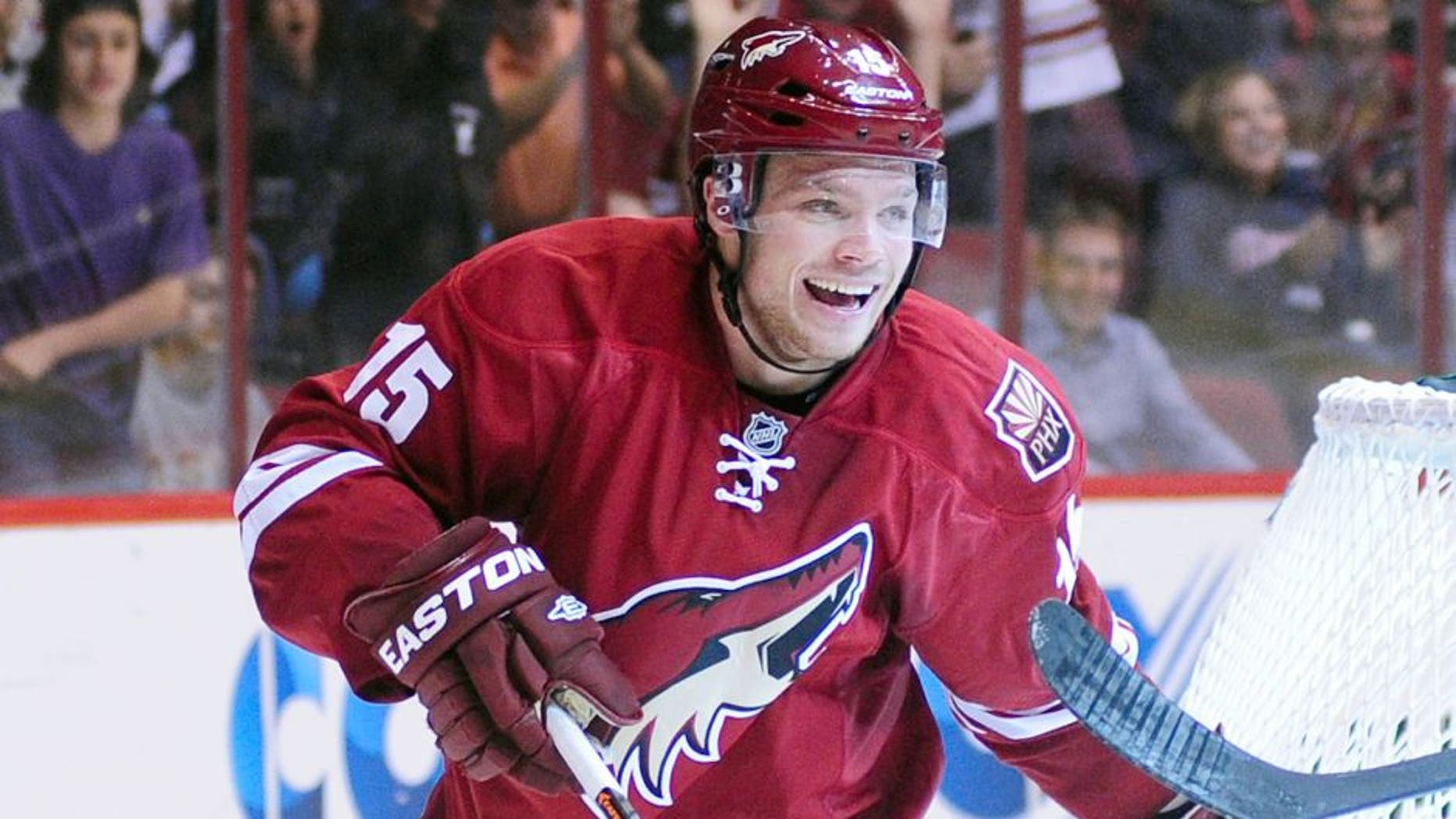 Sep 27, 2013; Glendale, AZ, USA; Phoenix Coyotes center Max Domi (15) celebrates after a goal by right wing Radim Vrbata (17) during the second period against the San Jose Sharks at Jobing.com Arena. Mandatory Credit: Matt Kartozian-USA TODAY Sports