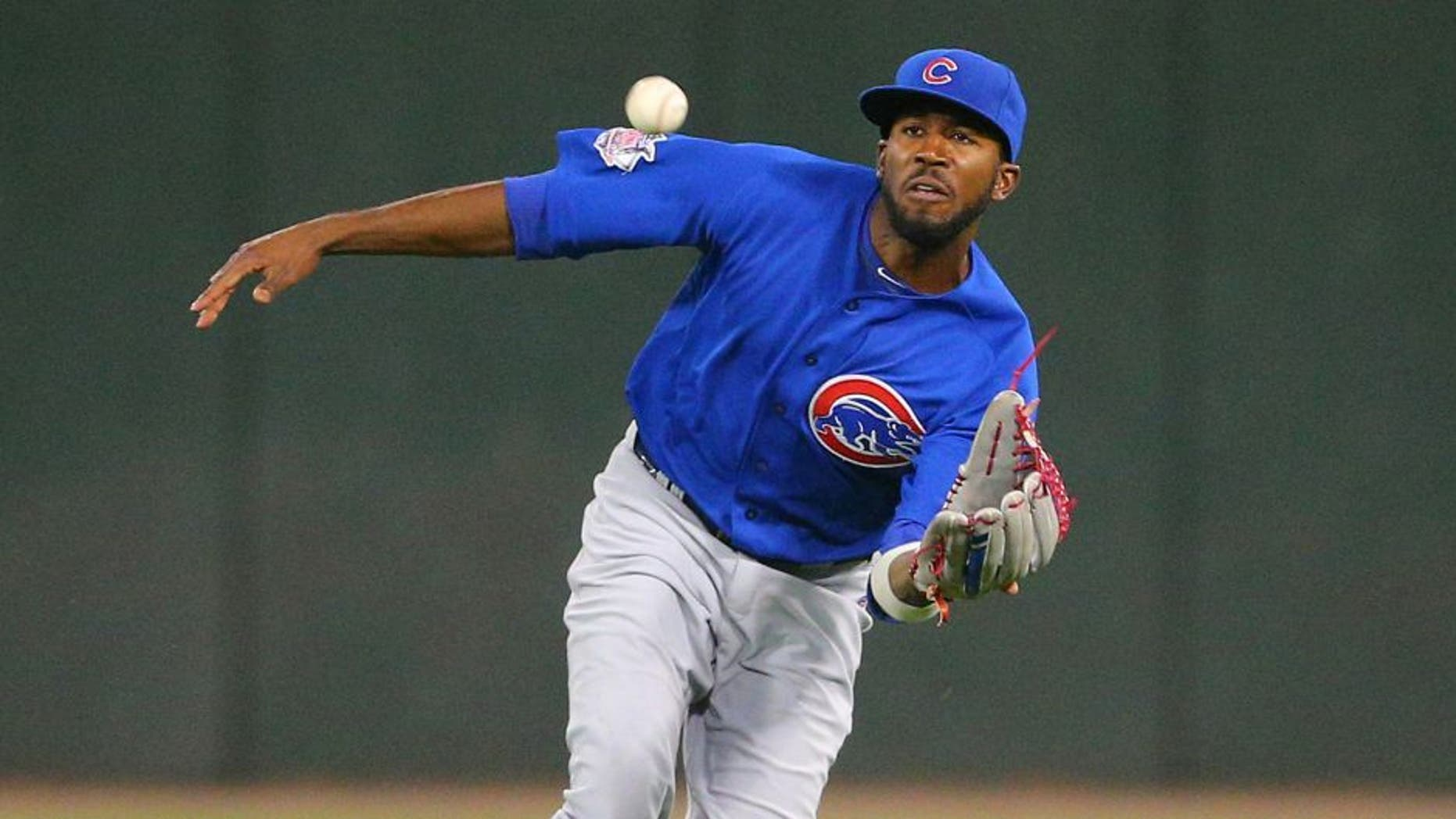 Aug 15, 2015; Chicago, IL, USA; Chicago Cubs center fielder Dexter Fowler (24) catches a fly ball off the bat of Chicago White Sox right fielder Avisail Garcia (not pictured) during the eighth inning at U.S Cellular Field. Mandatory Credit: Dennis Wierzbicki-USA TODAY Sports