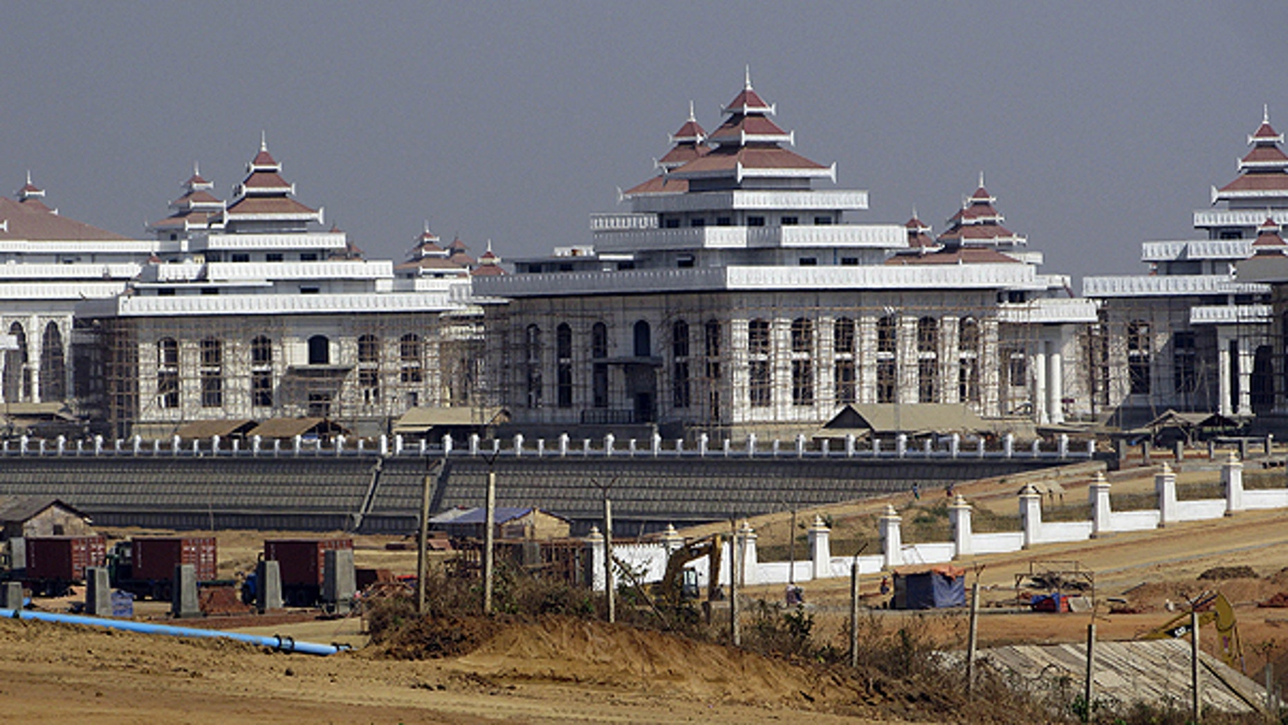 In this photo taken Feb. 6, 2010, new parliament buildings are under construction in Naypyitaw.