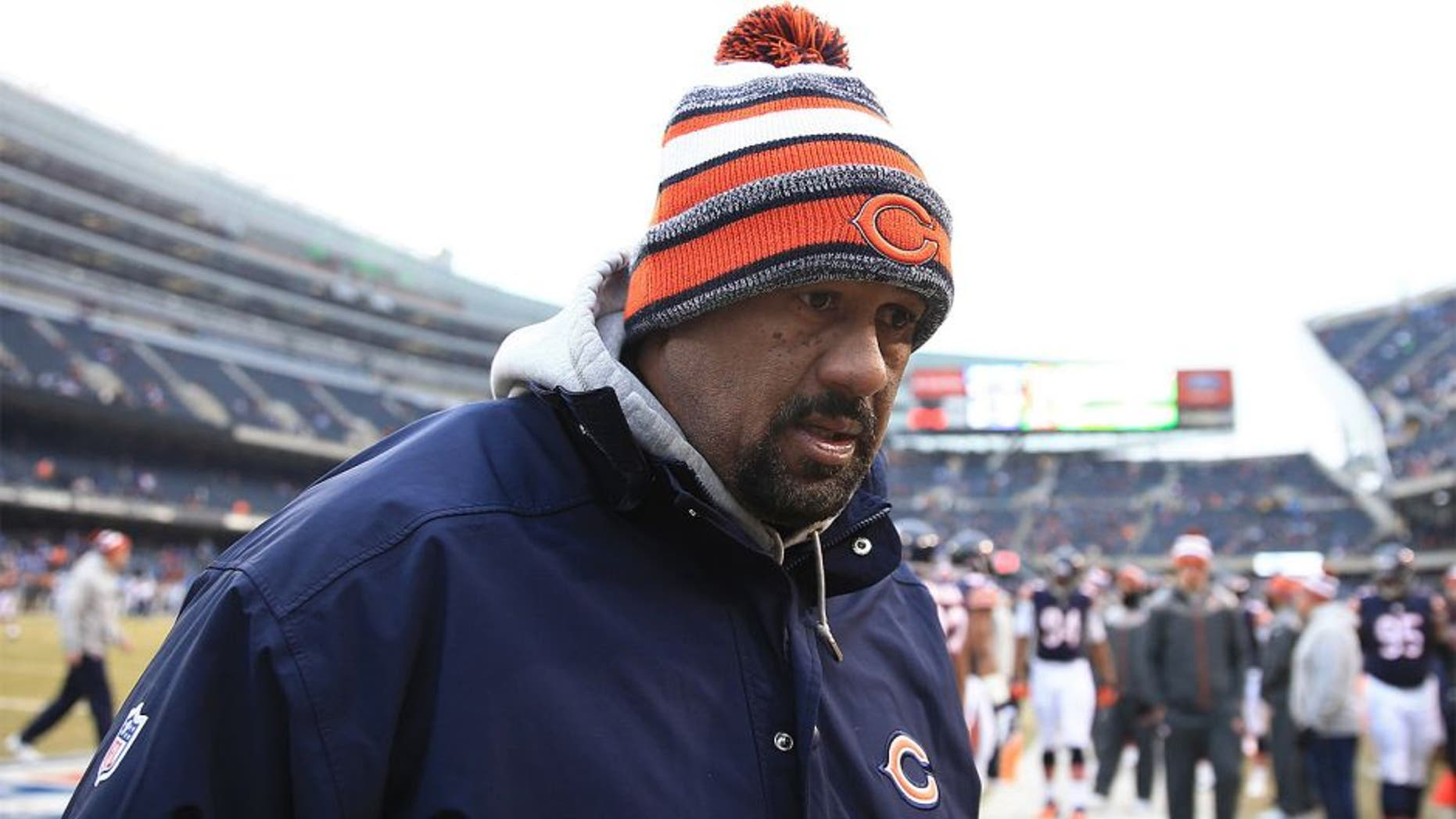 Dec 21, 2014; Chicago, IL, USA; Chicago Bears running back coach Skip Peete against the Detroit Lions at Soldier Field. The Lions defeated the Bears 20-14. Mandatory Credit: Andrew Weber-USA TODAY Sports