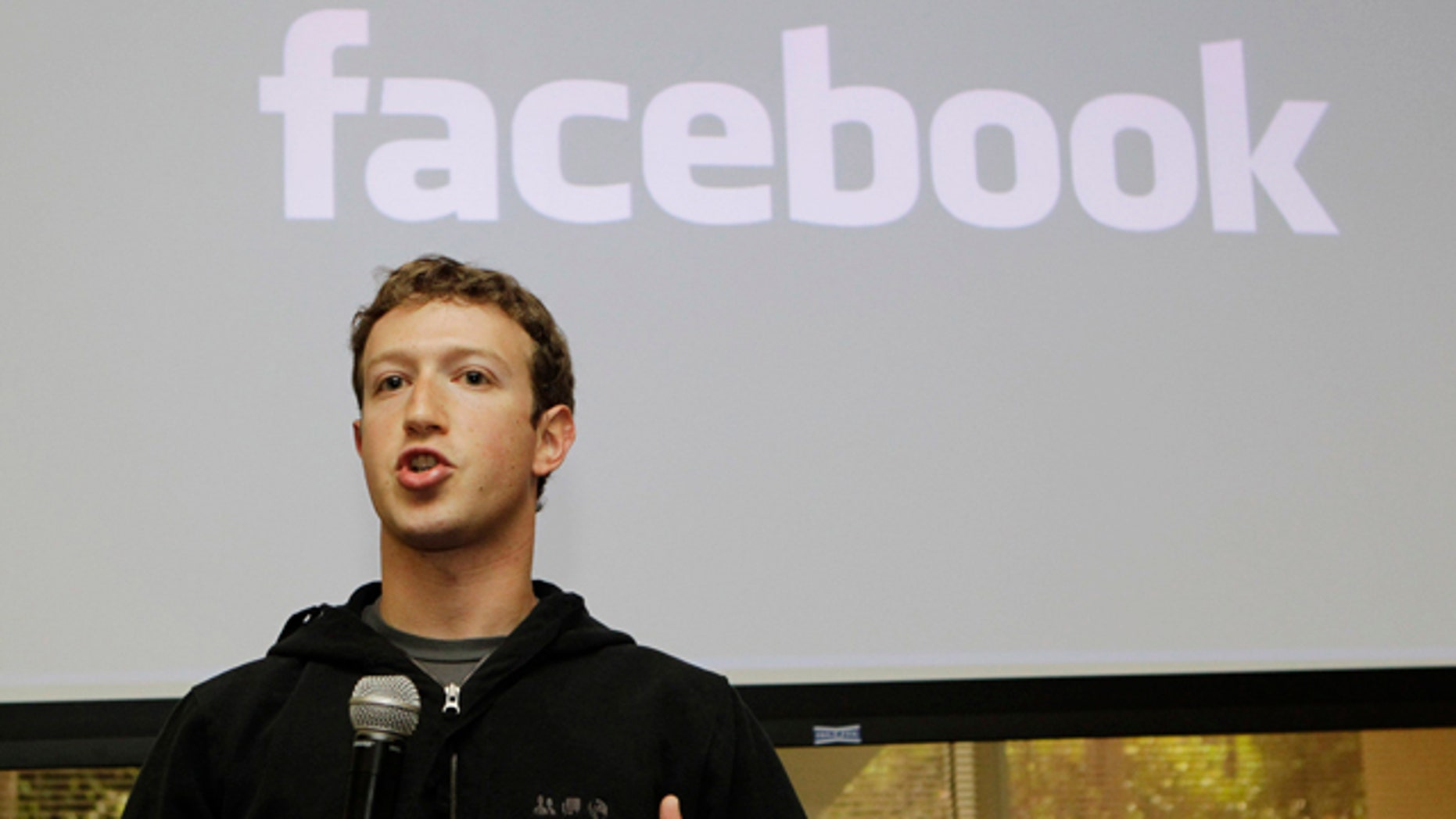 FILE - In this May, 26, 2010 file photo, Facebook CEO Mark Zuckerberg talks about the social network site's new privacy settings in Palo Alto, Calif.