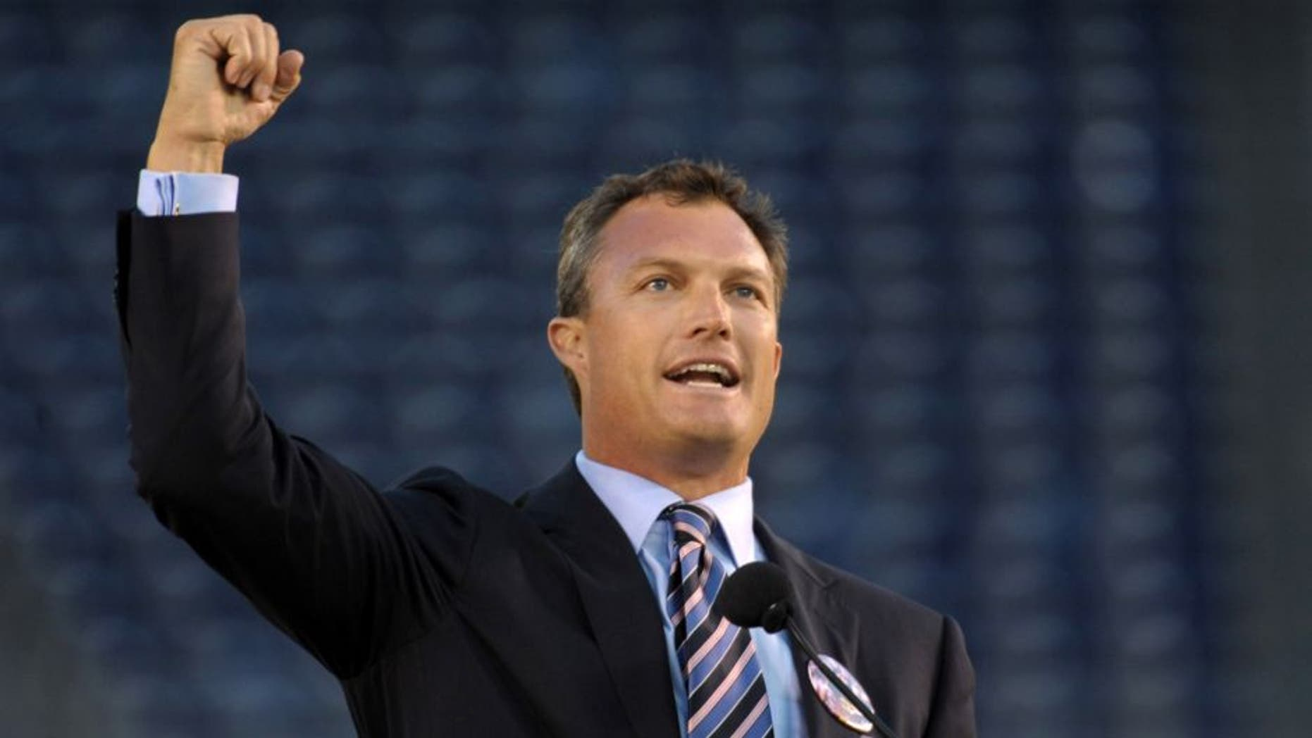 May 10, 2012; San Diego, CA, USA; Tampa Bay Buccaneers and Denver Broncos former safety John Lynch speaks at the Celebration of Life for Junior Seau at Qualcomm Stadium. Mandatory Credit: Kirby Lee/Image of Sport-USA TODAY Sports