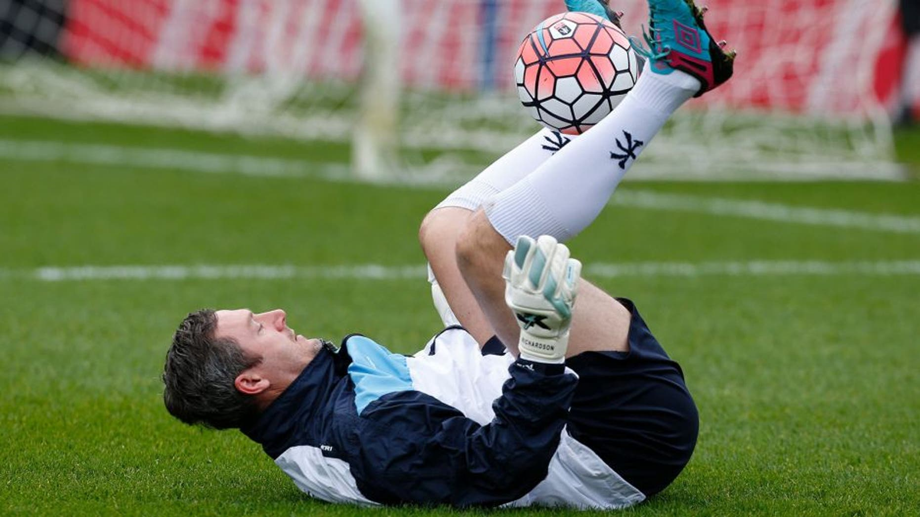 Wycombe Wanderers' goalkeeping coach Barry Richardson warms up ahead of the FA Cup third-round football match between Wycombe Wanderers and Aston Villa at the Adams Park stadium in High Wycombe, west of London on January 9, 2016. AFP PHOTO / IAN KINGTON RESTRICTED TO EDITORIAL USE. No use with unauthorized audio, video, data, fixture lists, club/league logos or 'live' services. Online in-match use limited to 75 images, no video emulation. No use in betting, games or single club/league/player publications. / AFP / IAN KINGTON (Photo credit should read IAN KINGTON/AFP/Getty Images)