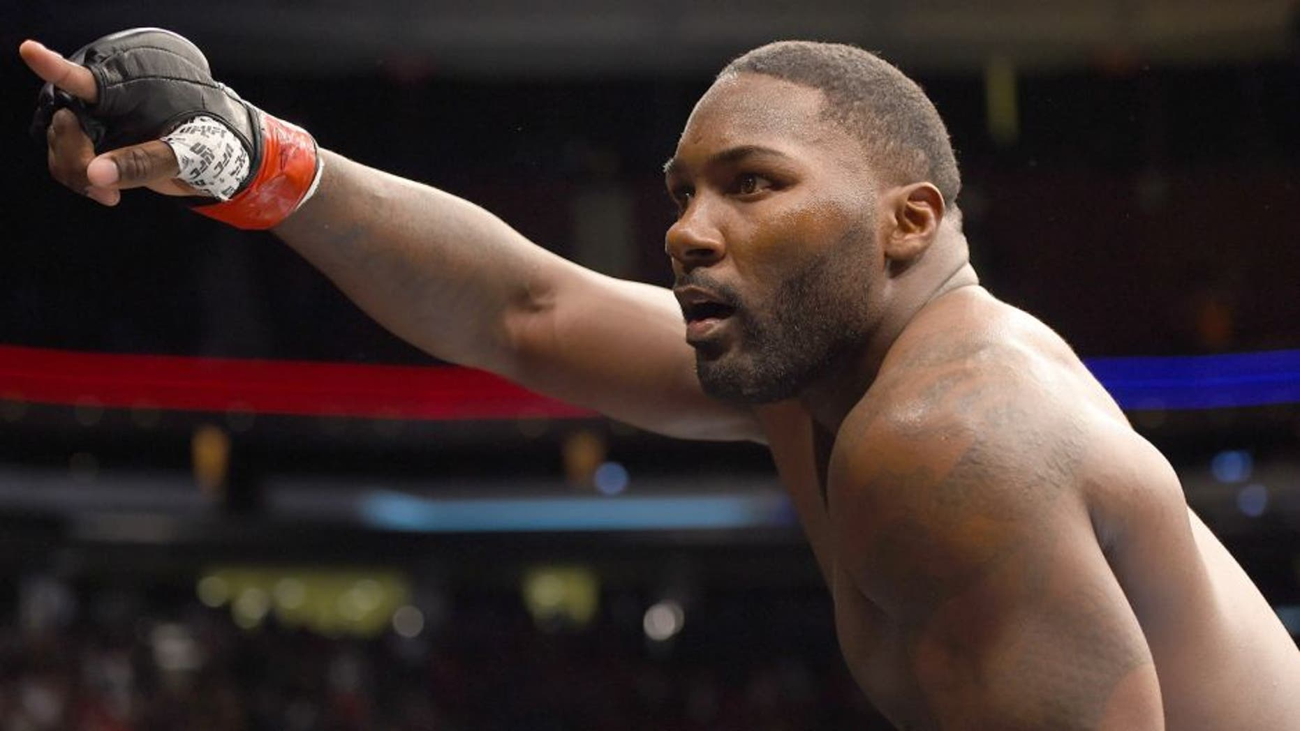 NEWARK, NJ - JANUARY 30: Anthony Johnson celebrates his knockout victory over Ryan Bader in their light heavyweight bout during the UFC Fight Night event at the Prudential Center on January 30, 2016 in Newark, New Jersey. (Photo by Josh Hedges/Zuffa LLC/Zuffa LLC via Getty Images)