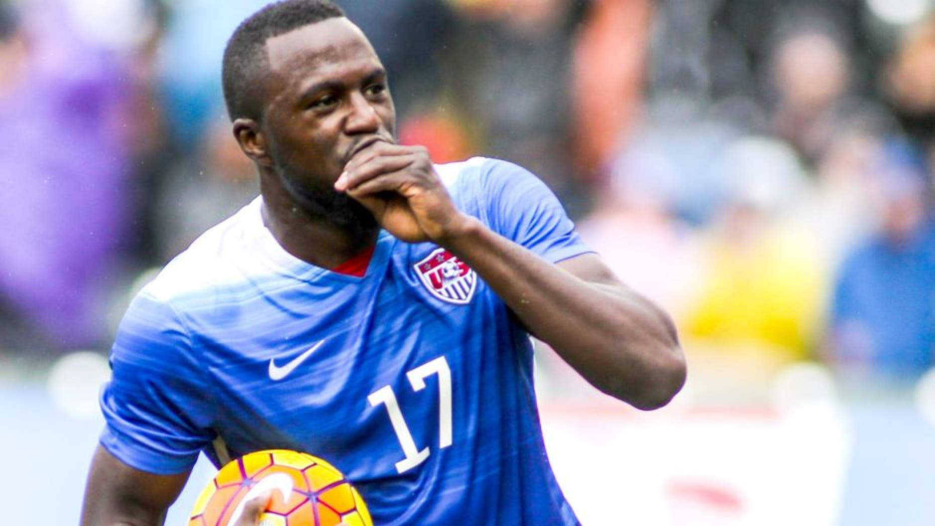 United States forward Jozy Altidore celebrates his goal against Iceland in the first half of a men's international friendly soccer game in Carson, Calif., Sunday, Jan., 31, 2016. (AP Photo/Ringo H.W. Chiu)