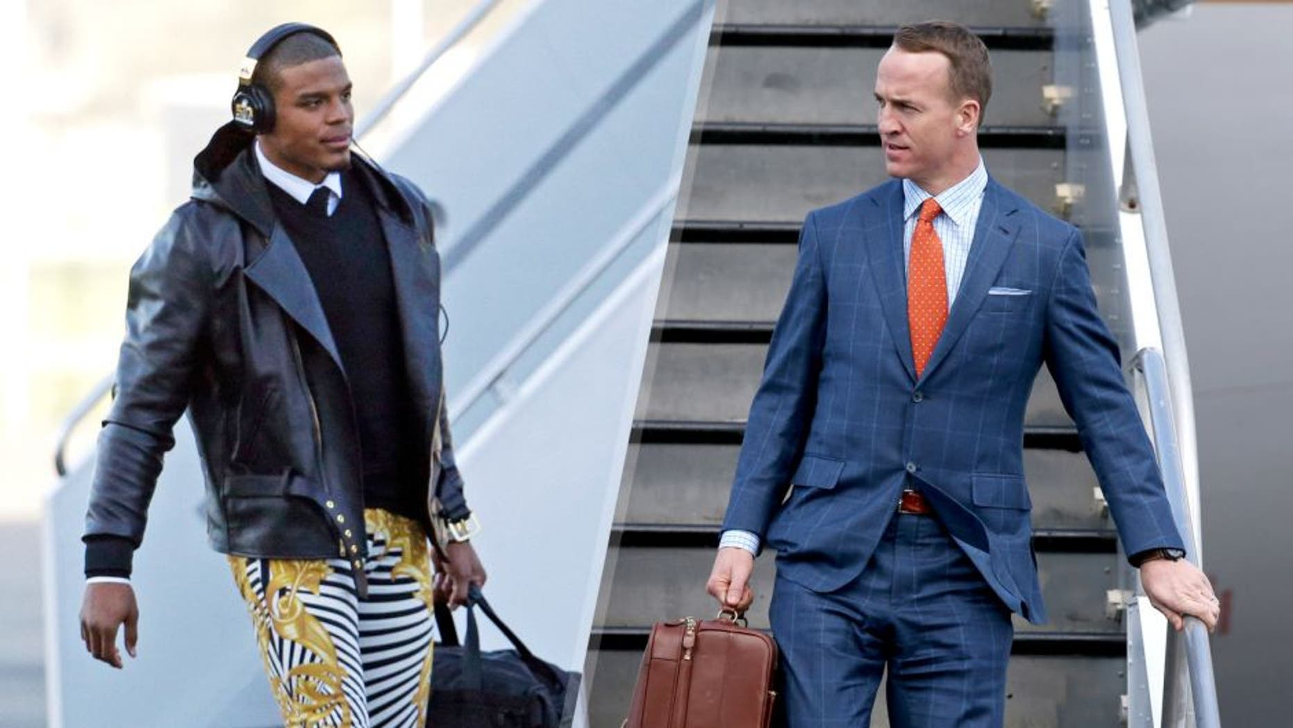 Carolina Panthers' Cam Newton gets off the plane at the Mineta San Jose International Airport as they arrive for the NFL Super Bowl football game Sunday, Jan. 31, 2016, in San Jose, Calif. The Panthers play the Denver Broncos on Sunday, Feb. 7, 2015, in Super Bowl 50. (AP Photo/Charlie Riedel), Jan 31, 2016; San Jose, CA, USA; Denver Broncos quarterback Peyton Manning exits a plane during team arrivals at the Mineta San Jose International Airport in preparation of Super Bowl 50 against the Carolina Panthers. Mandatory Credit: Cary Edmondson-USA TODAY Sports