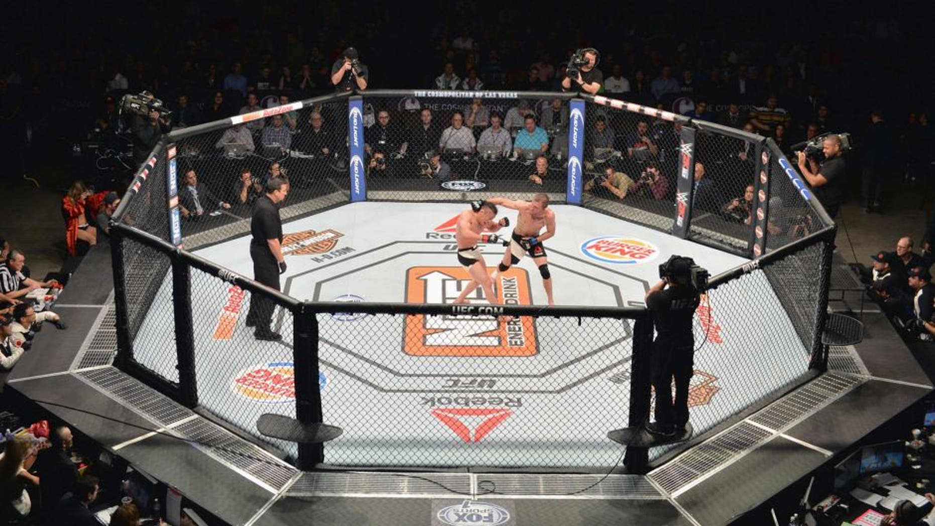 LAS VEGAS, NV - DECEMBER 11: An overhead view of the Octagon as Jason Knight punches Tatsuya Kawajiri in their featherweight bout during the TUF Finale event inside The Chelsea at The Cosmopolitan of Las Vegas on December 11, 2015 in Las Vegas, Nevada. (Photo by Brandon Magnus/Zuffa LLC/Zuffa LLC via Getty Images)