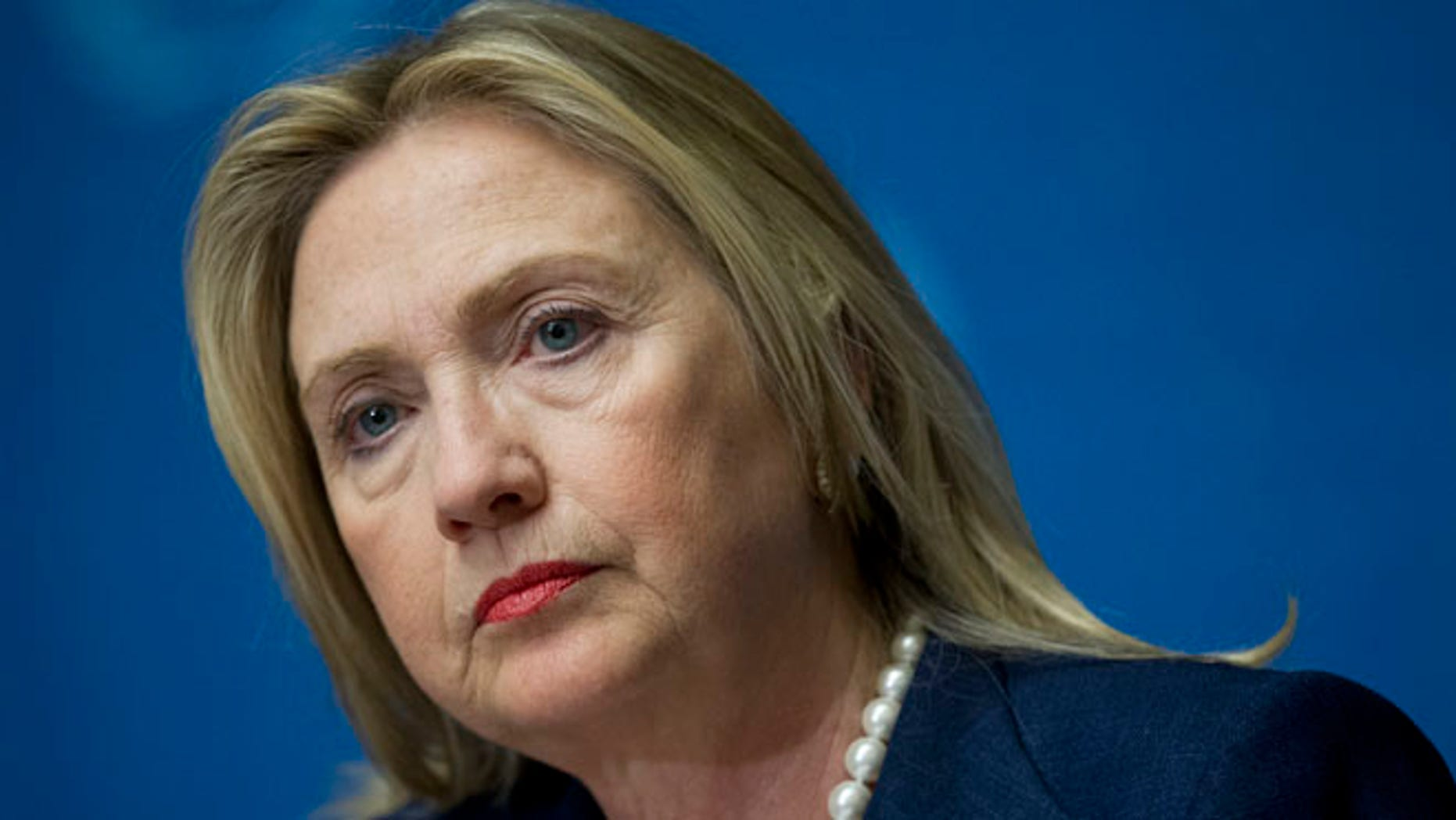 U.S. Secretary of State Hillary Rodham Clinton pauses during a news conference following the Action Group on Syria meeting in the Palace of Nations, Saturday, June 30, 2012, at the United Nations' Headquarters in Geneva, Switzerland. (AP Photo/Haraz N. Ghanbari, Pool)