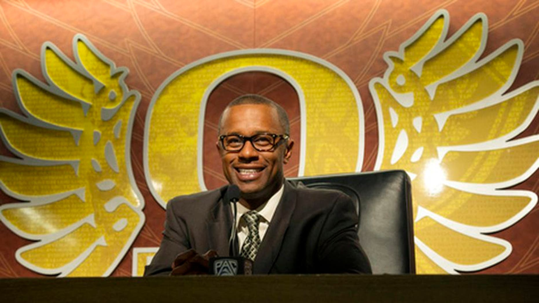 Oregon coach Willie Taggart discusses his first recruiting class for the Ducks during a an NCAA college football news conference on national signing day at the Hatfield-Dowling Complex, Wednesday, Feb. 1, 2017, in Eugene, Ore.. Taggart replaced Mark Helrich who was fired after the 2016 season. (Andy Nelson/The Register-Guard via AP)