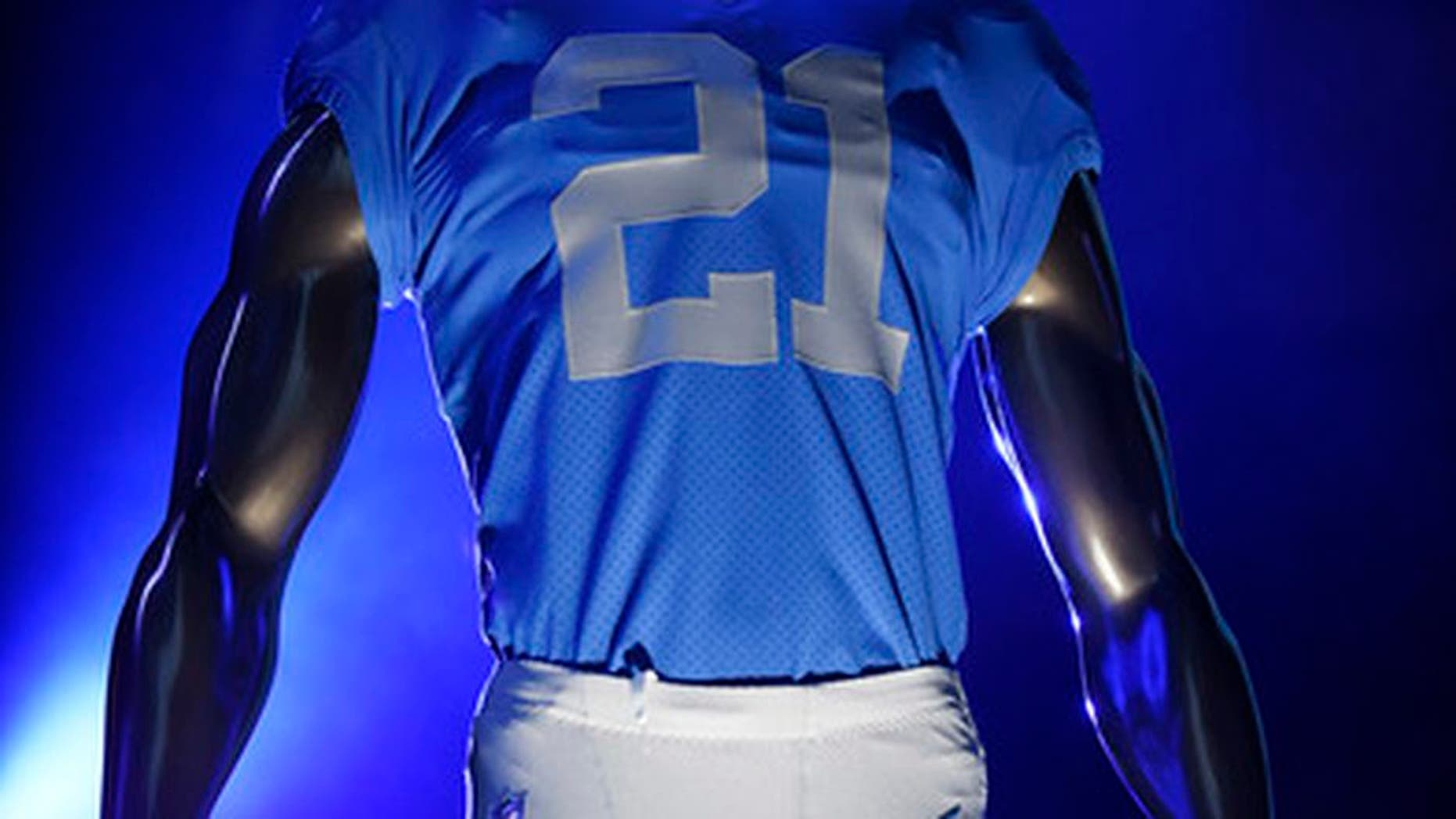 One of four new Detroit Lions uniforms is displayed at Ford Field in Detroit on Thursday, April 13, 2017. (Clarence Tabb Jr./The Detroit News via AP)