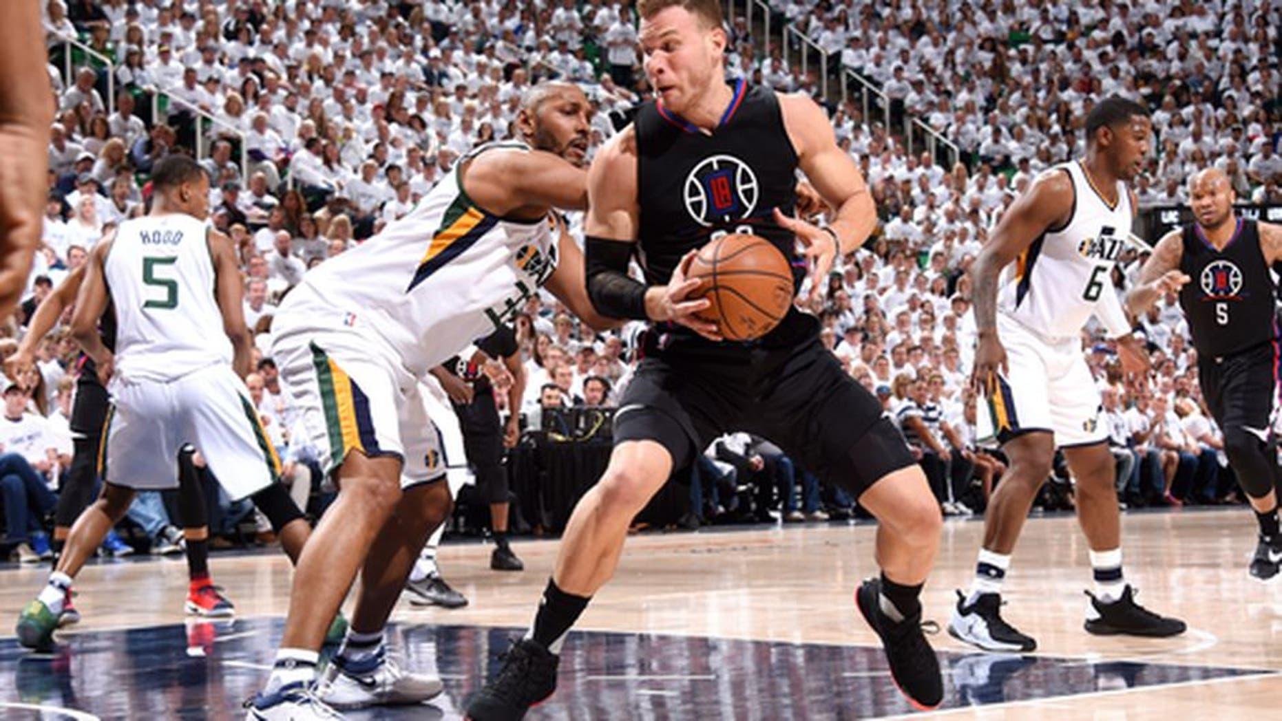 SALT LAKE CITY, UT - APRIL 21: Blake Griffin #32 of the Los Angeles Clippers handles the ball during the game against the Utah Jazz during the Western Conference Quarter-finals of the 2017 NBA Playoffs on April 21, 2017 at Vivint Smart Home Arena in Salt Lake City, Utah. NOTE TO USER: User expressly acknowledges and agrees that, by downloading and or using this Photograph, User is consenting to the terms and conditions of the Getty Images License Agreement. Mandatory Copyright Notice: Copyright 2017 NBAE (Photo by Andrew D. Bernstein/NBAE via Getty Images)